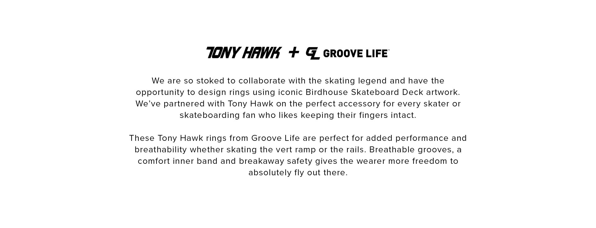 Tony Hawk + Groove Life; rings are designed with iconic Birdhouse Skateboard Deck artwork