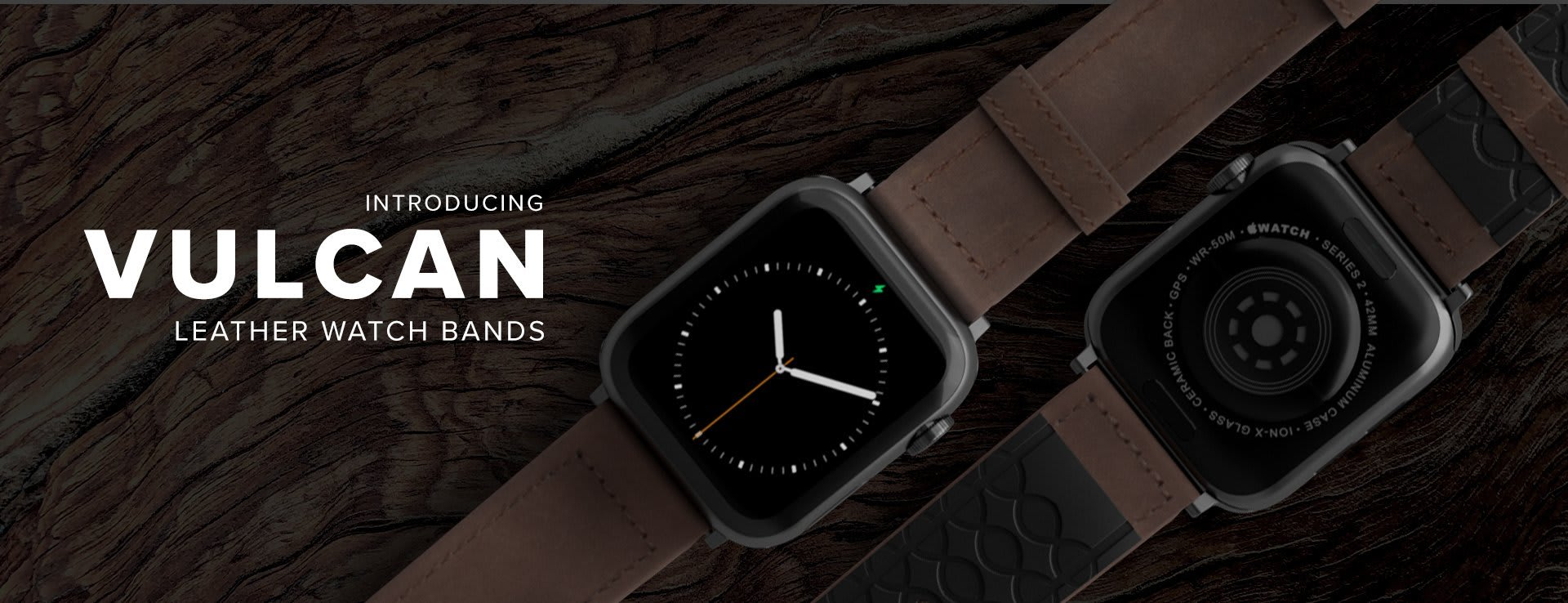 Vulcan Leather Watch Bands, Vulcan Trek laid out on wood background