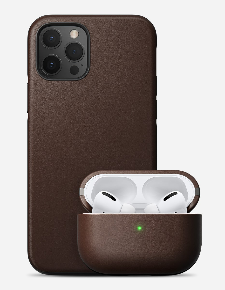 Rustic brown iPhone and Airpods case