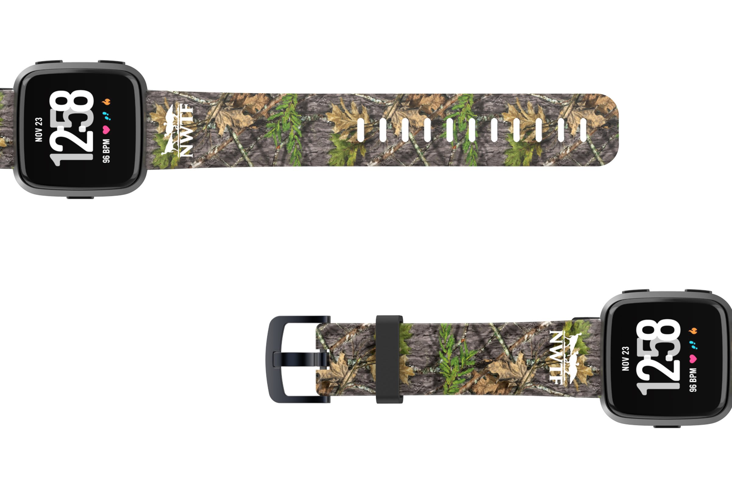 NWTF Mossy Oak Obsession Fitbit Versa watch band viewed top down