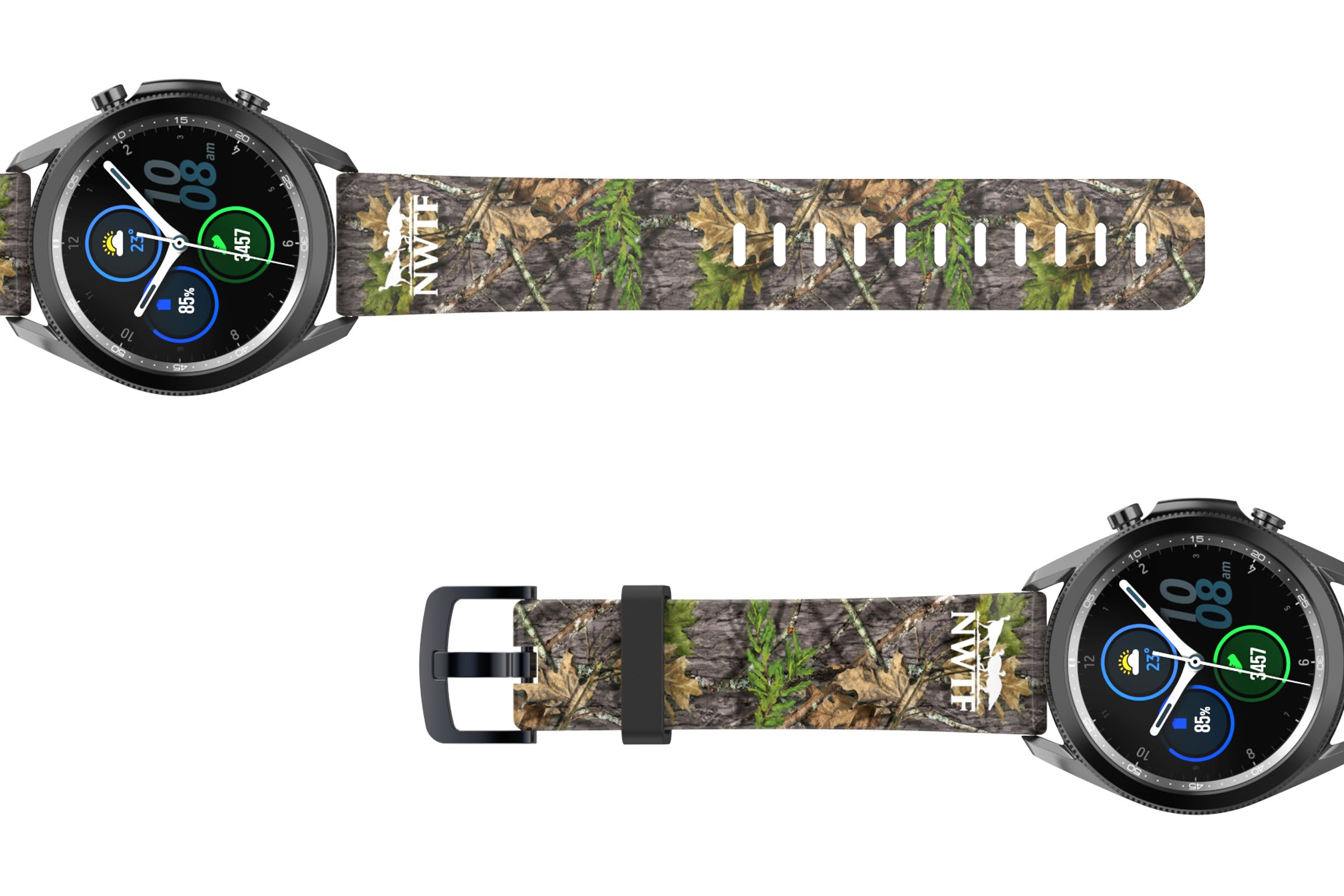 NWTF Mossy Oak Obsession Samsung 22mm watch band viewed top down