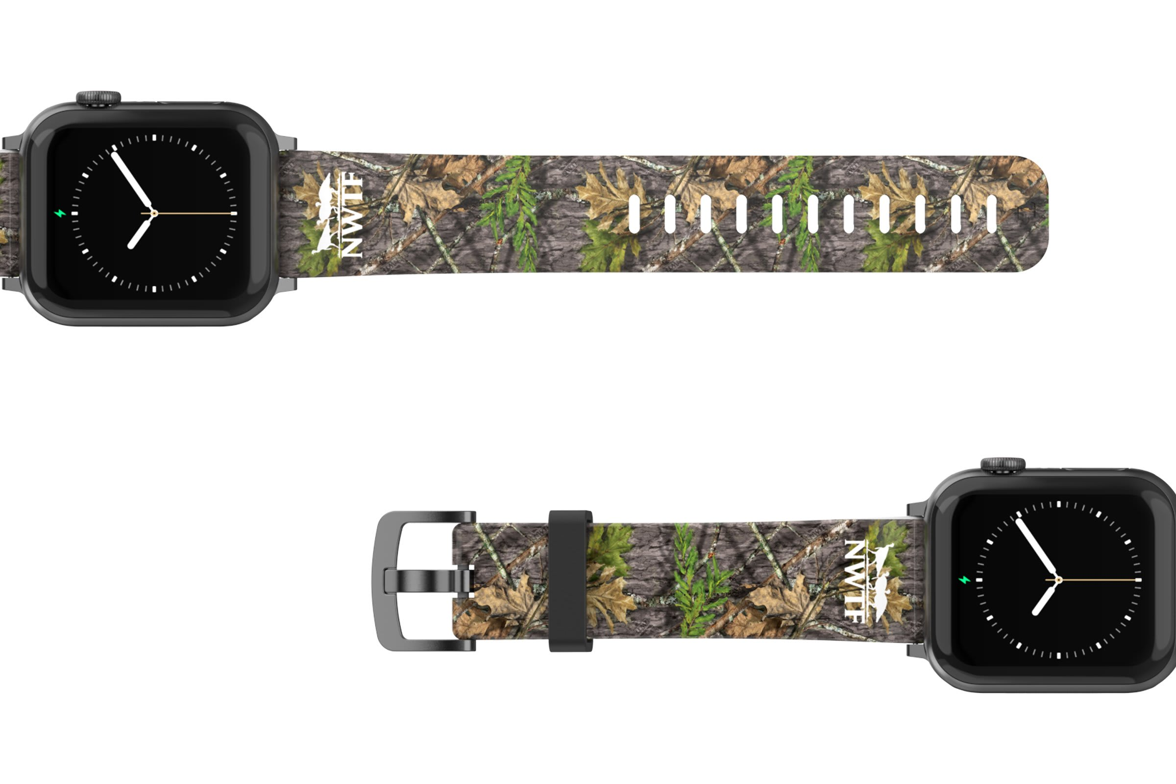 NWTF Mossy Oak Obsession Apple watch band  with gray hardware viewed top down