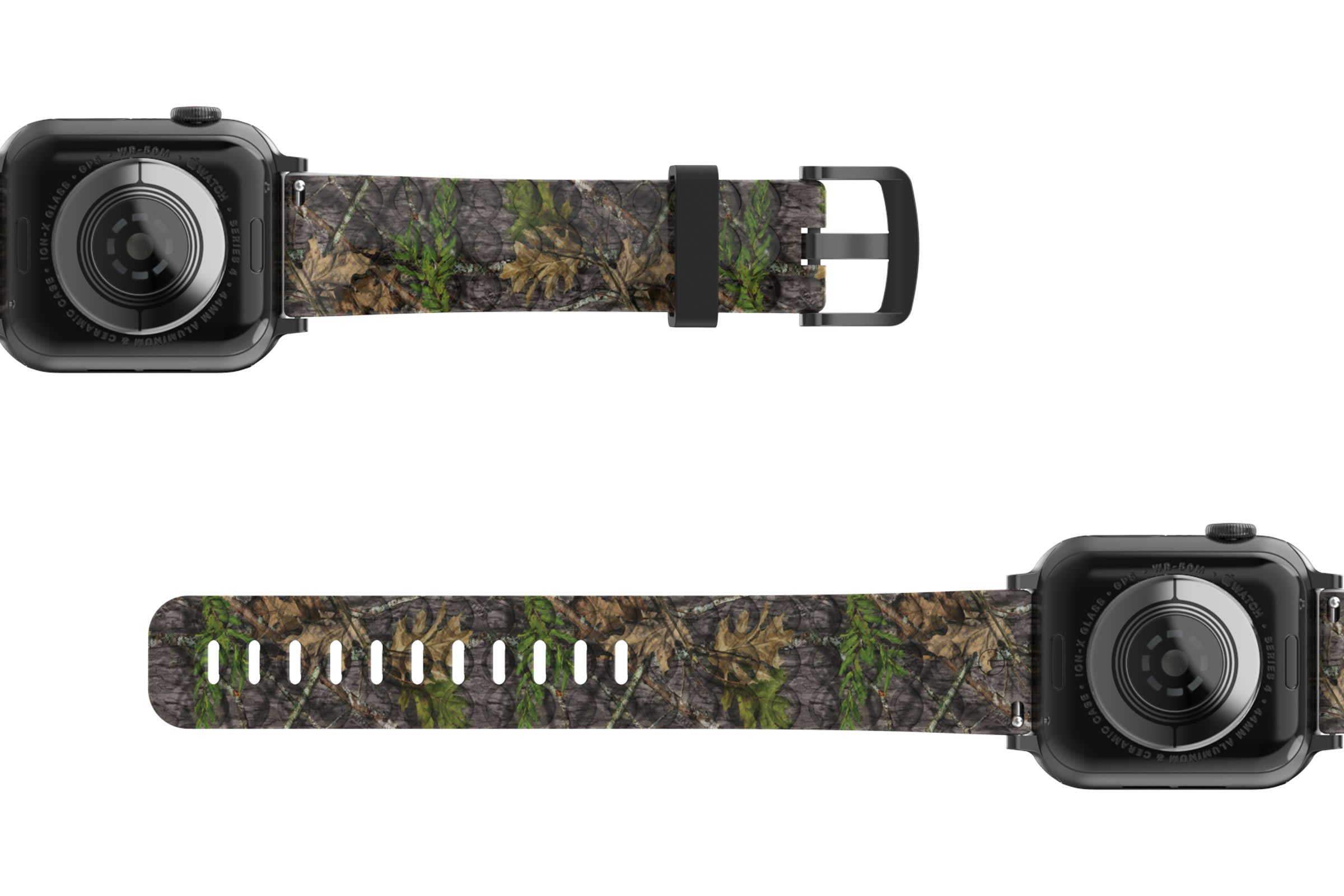 NWTF Mossy Oak Obsession Apple   watch band with gray hardware viewed bottom up