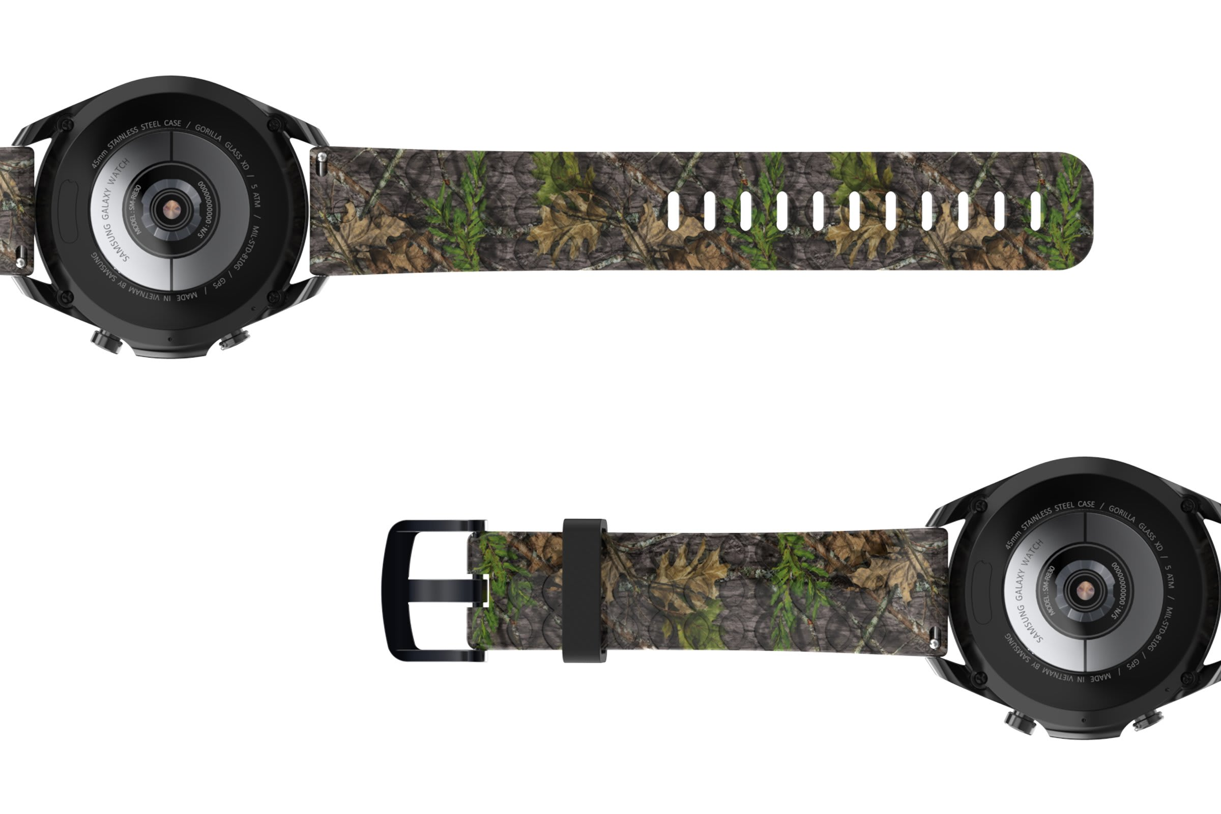 NWTF Mossy Oak Obsession Samsung 22mm   watch band viewed bottom up