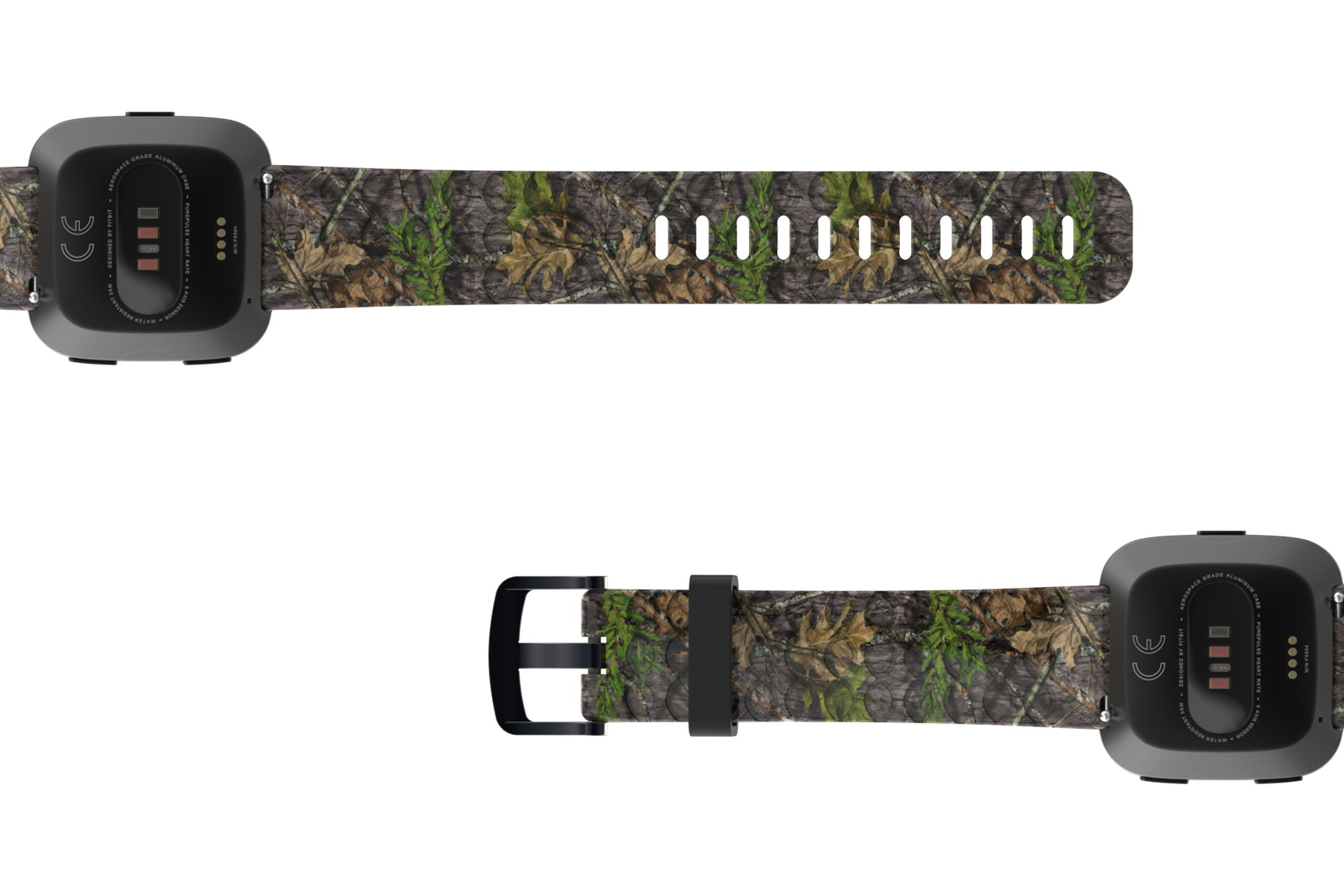NWTF Mossy Oak Obsession Fitbit Versa   watch band viewed bottom up