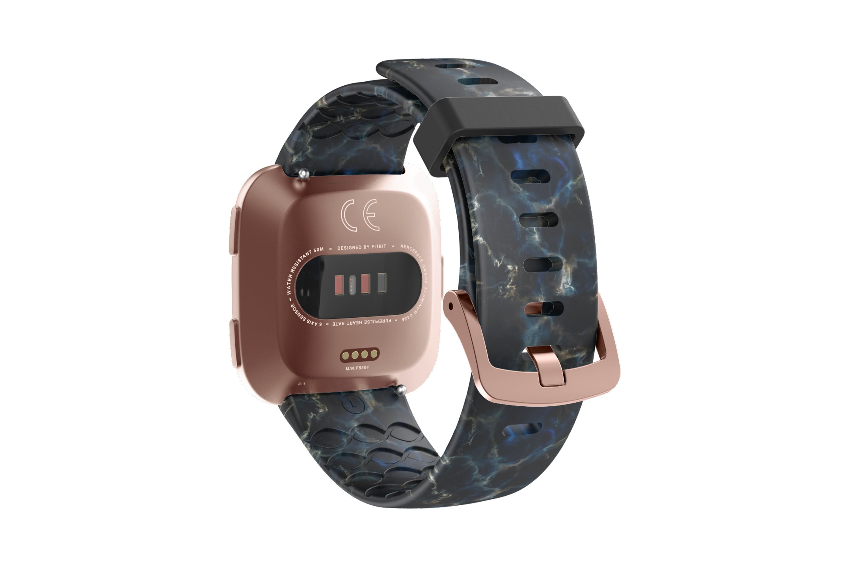 Nomad Rapids fitbit versa watch band with rose gold hardware viewed from top down