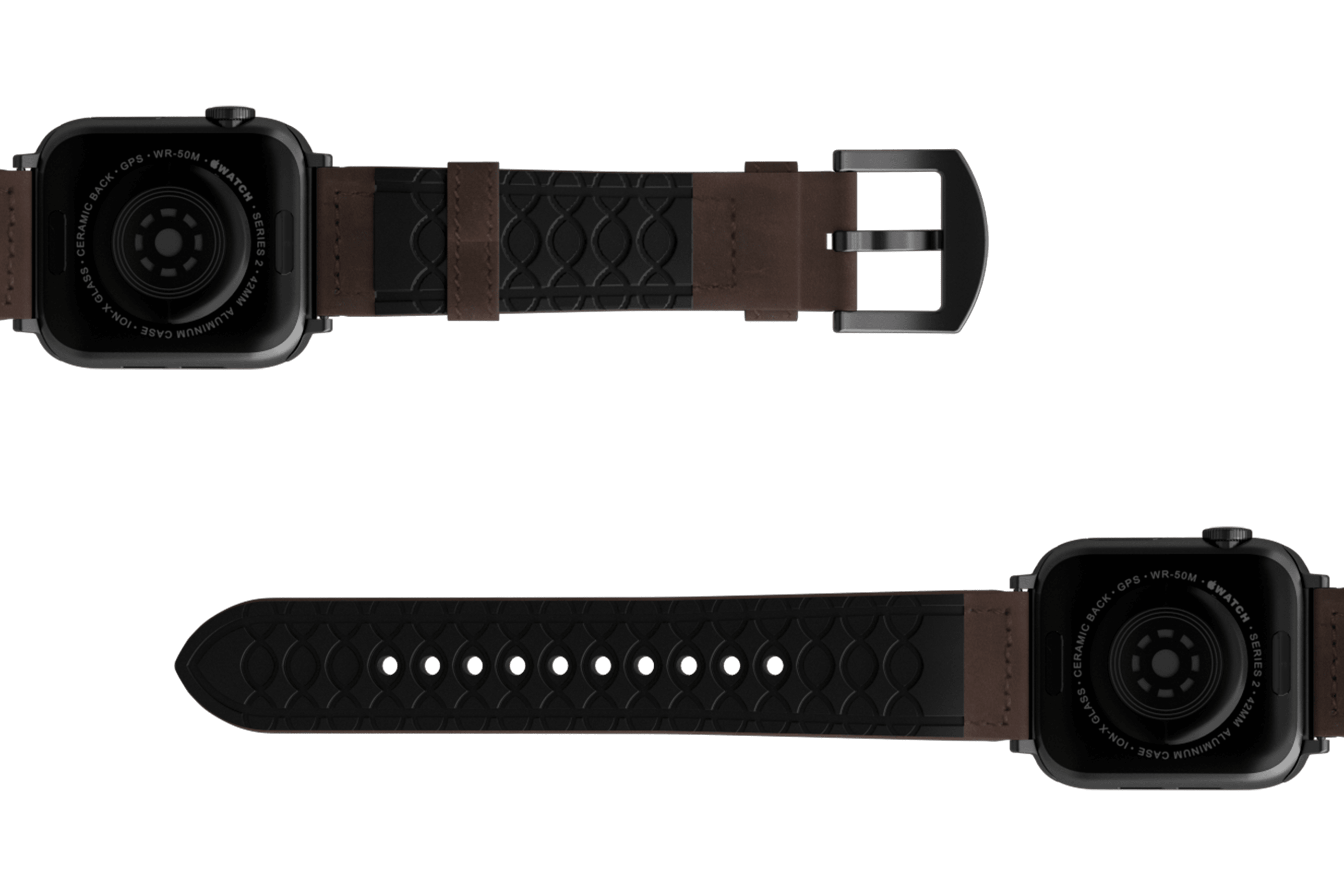 Vulcan Ascent Leather Apple   watch band with gray hardware viewed bottom up