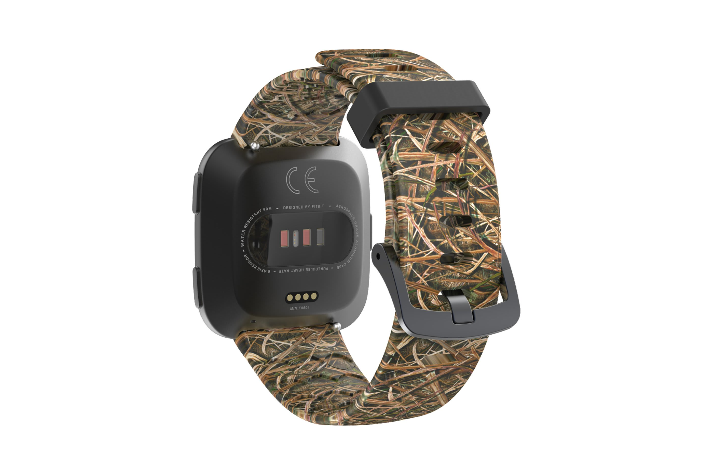 Mossy Oak Blades fitbit versa watch band with gray hardware viewed from rear