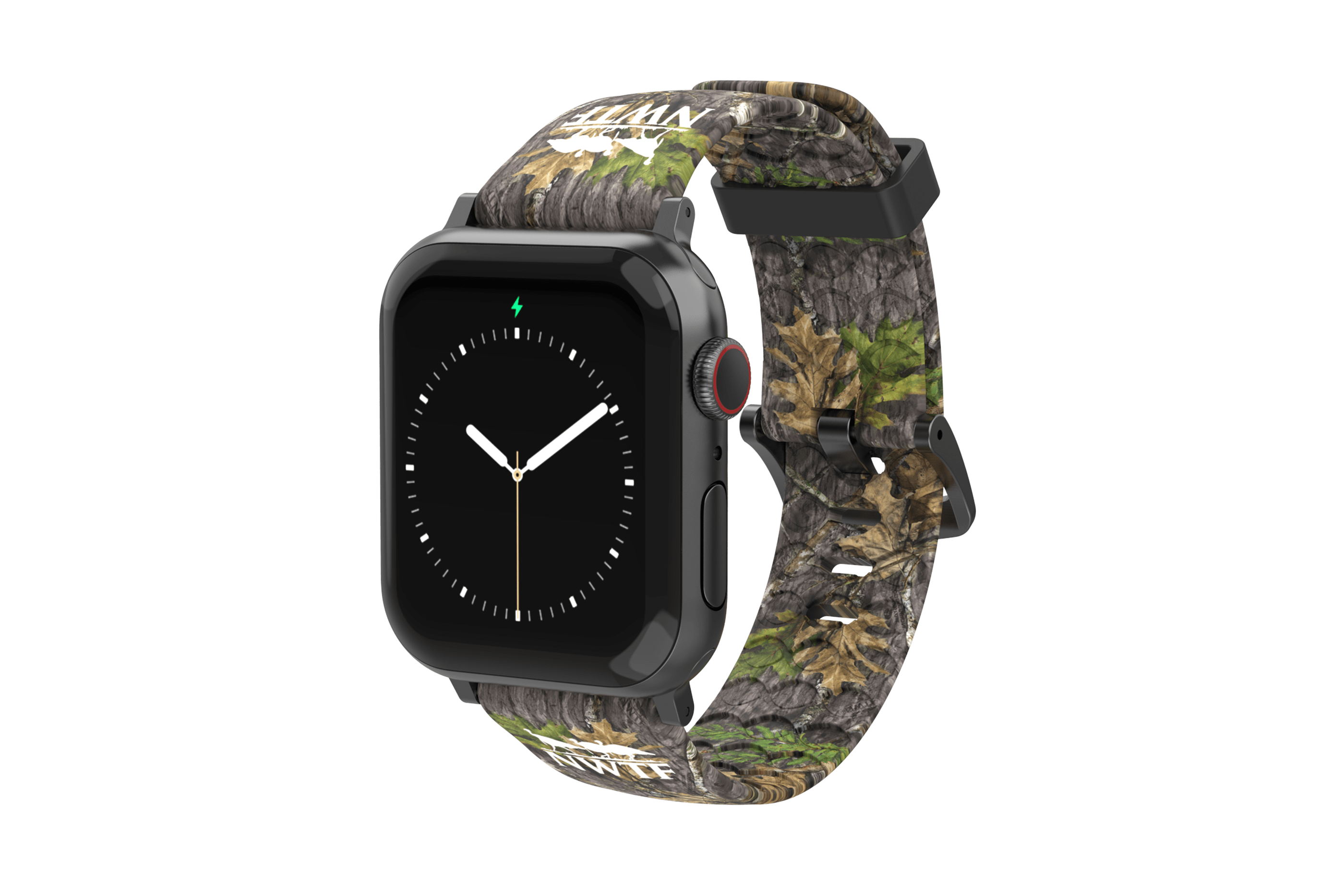 NWTF Mossy Oak Obsession Apple Watch Band with gray hardware  viewed front on