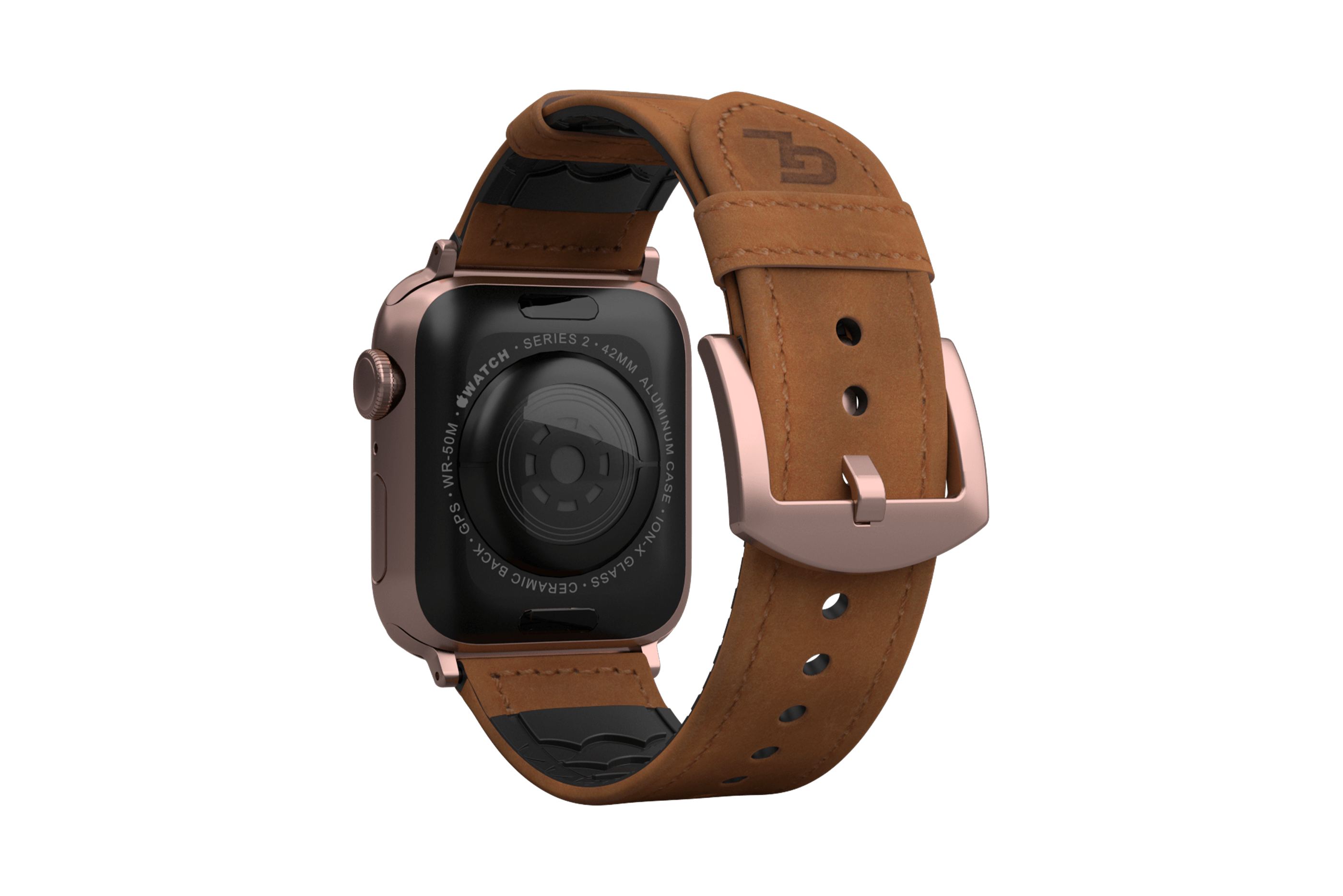 Vulcan Trek Leather   apple watch band with rose gold hardware viewed from top down