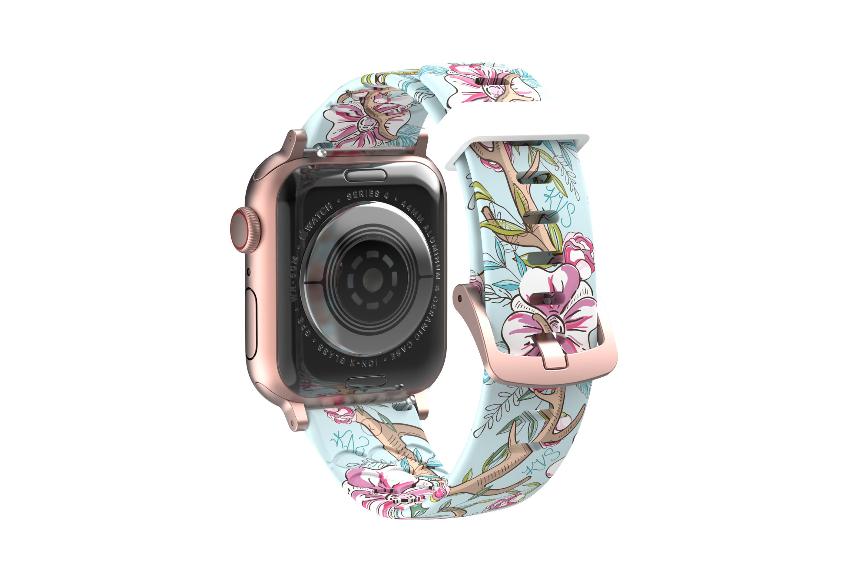 Love Deerly - Katie Van Slyke  apple watch band with gray hardware viewed from top down