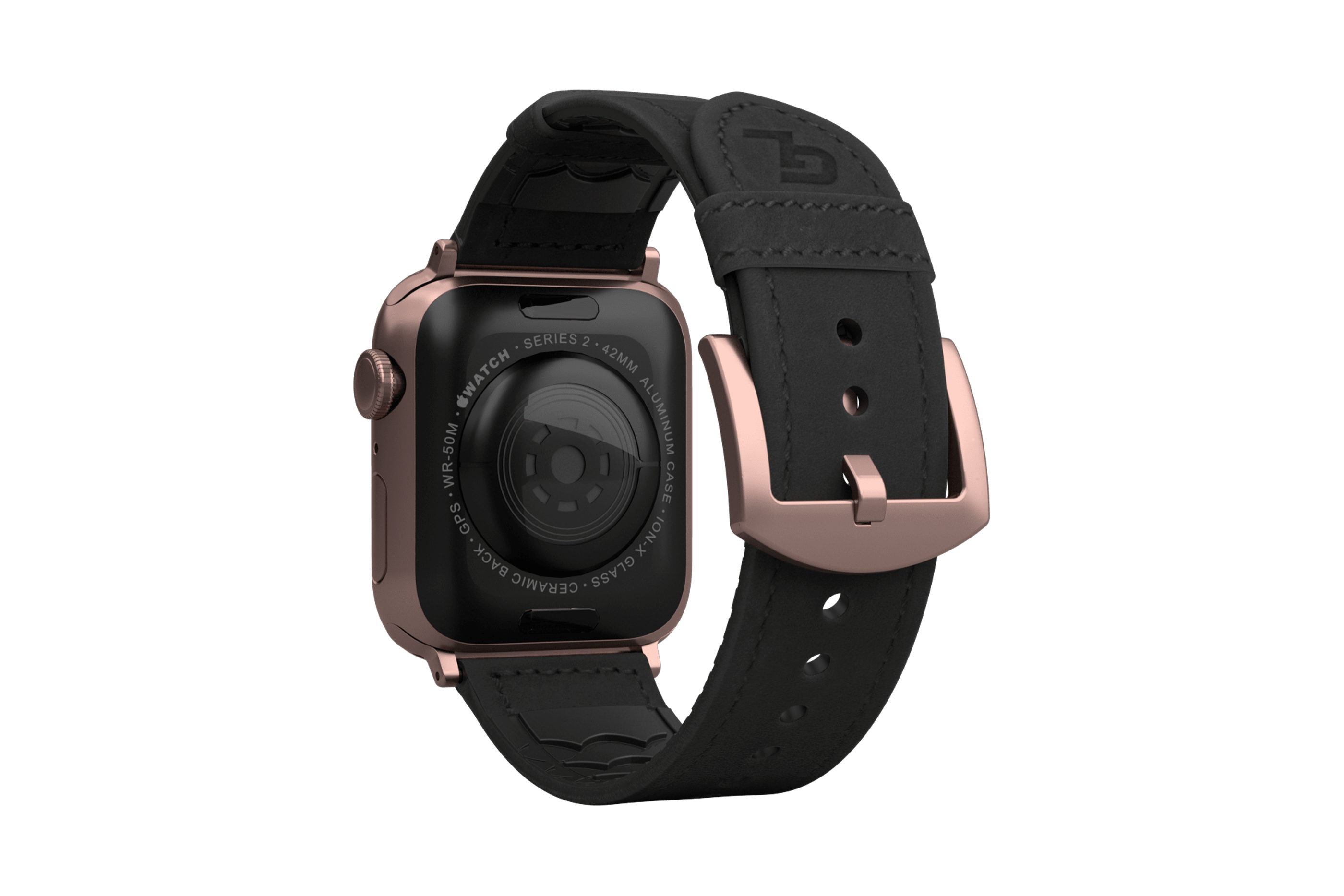 Vulcan Obsidian Black Leather apple watch band with rose gold hardware viewed from top down