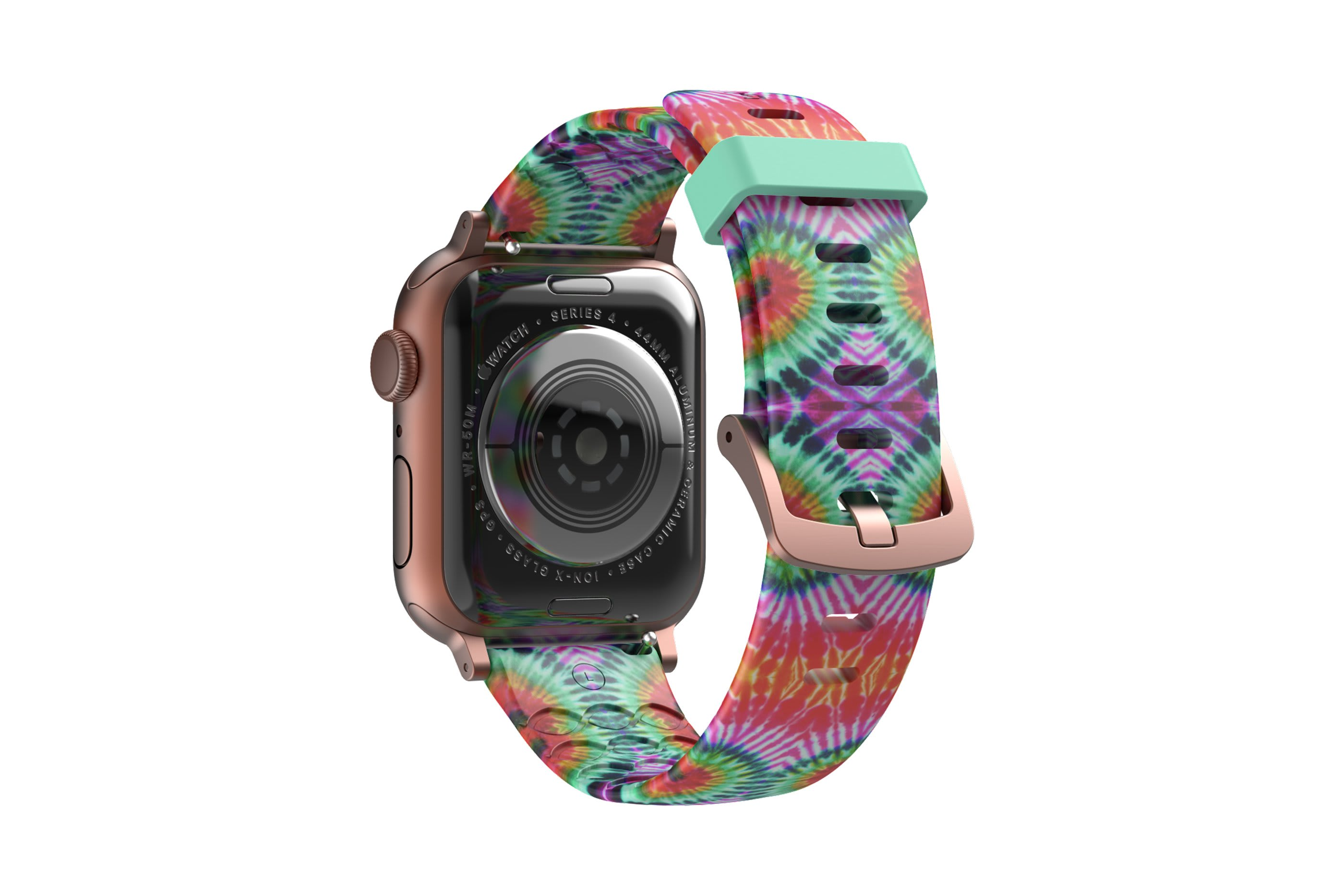 Gypsy Eyes  apple watch band with rose gold hardware viewed from top down