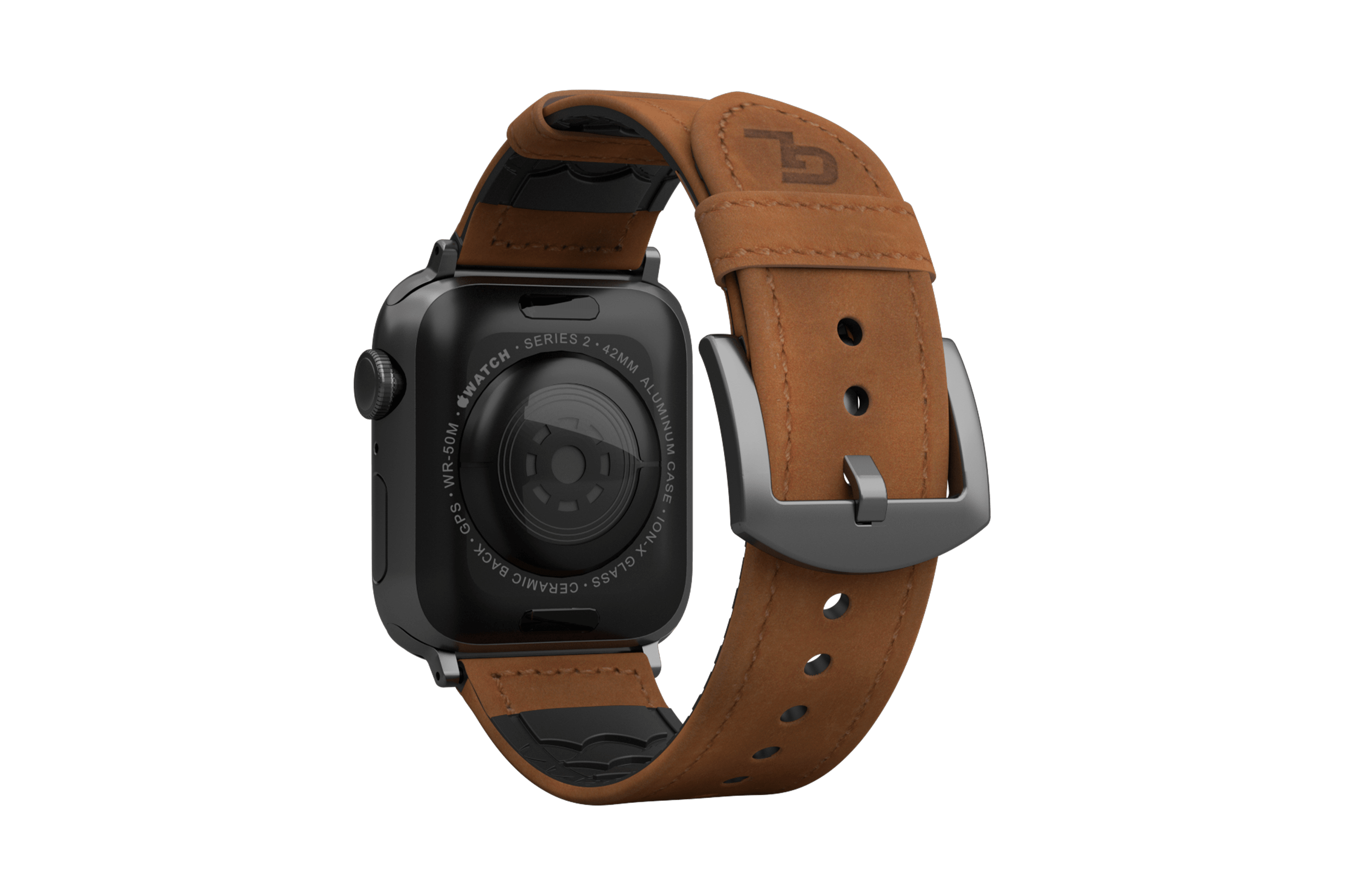 Vulcan Trek Leather   apple watch band with gray hardware viewed from top down