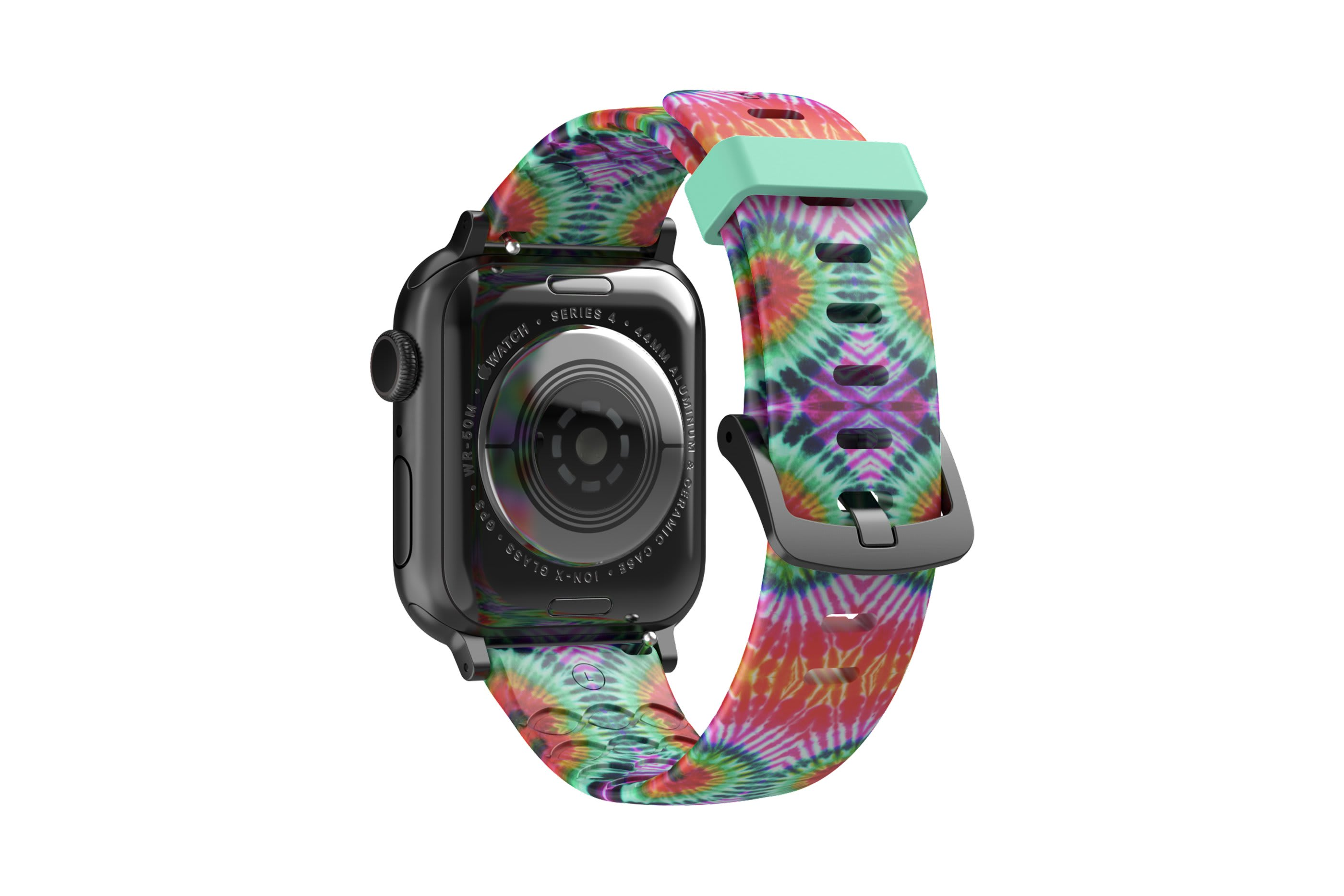 Gypsy Eyes  apple watch band with gray hardware viewed from top down