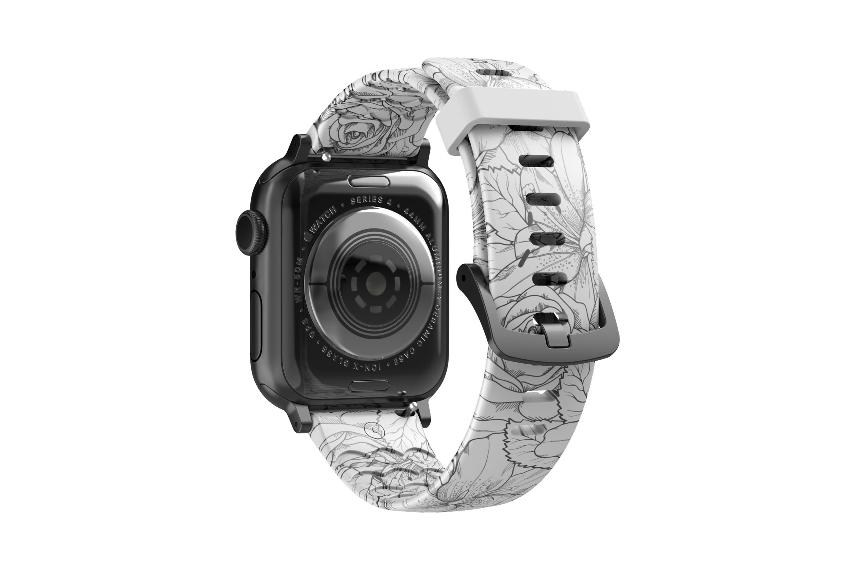 Winter Rose Apple Watch Band with gray hardware viewed from rear