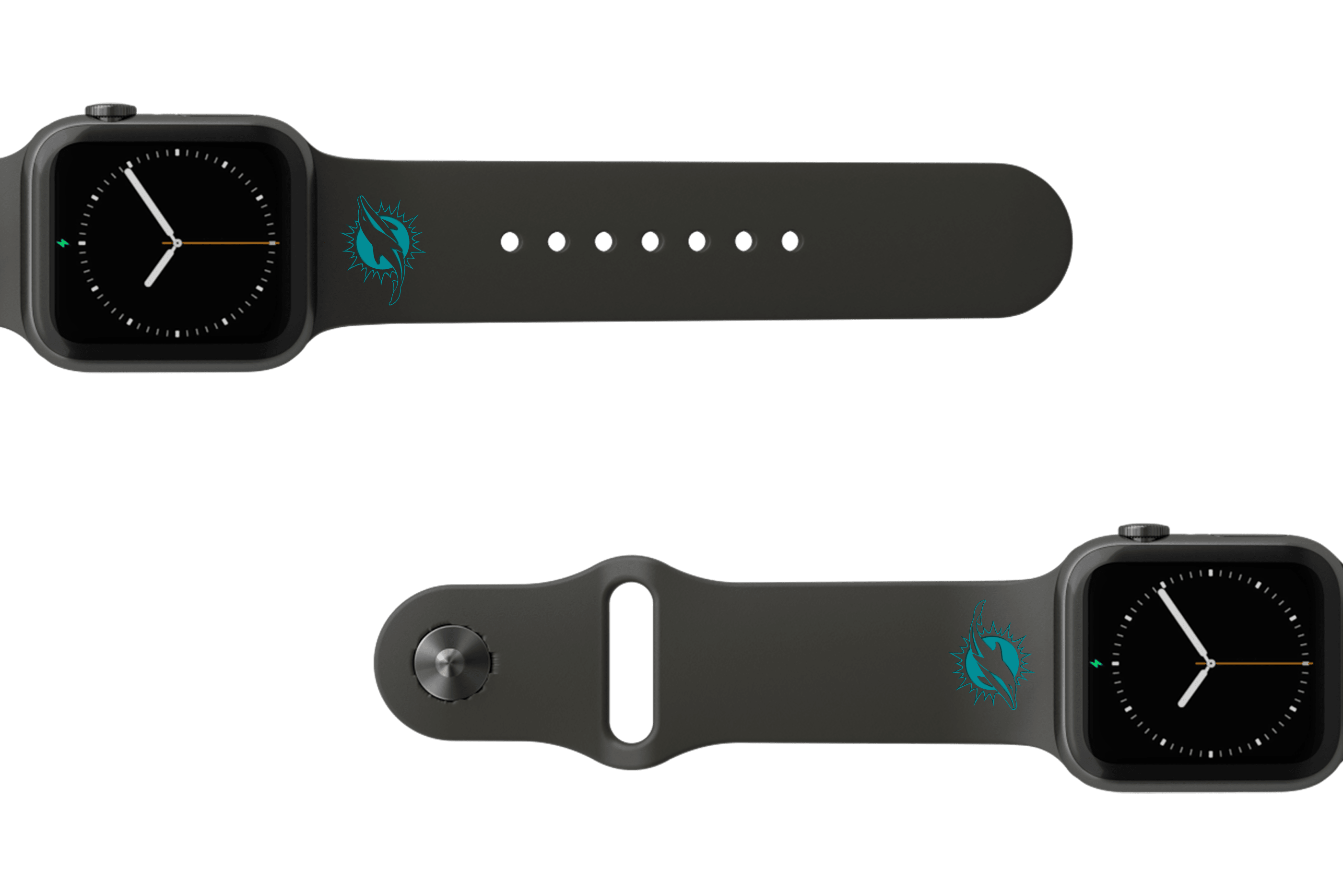 NFL Miami Dolphins Black   apple watch band with gray hardware viewed from top down