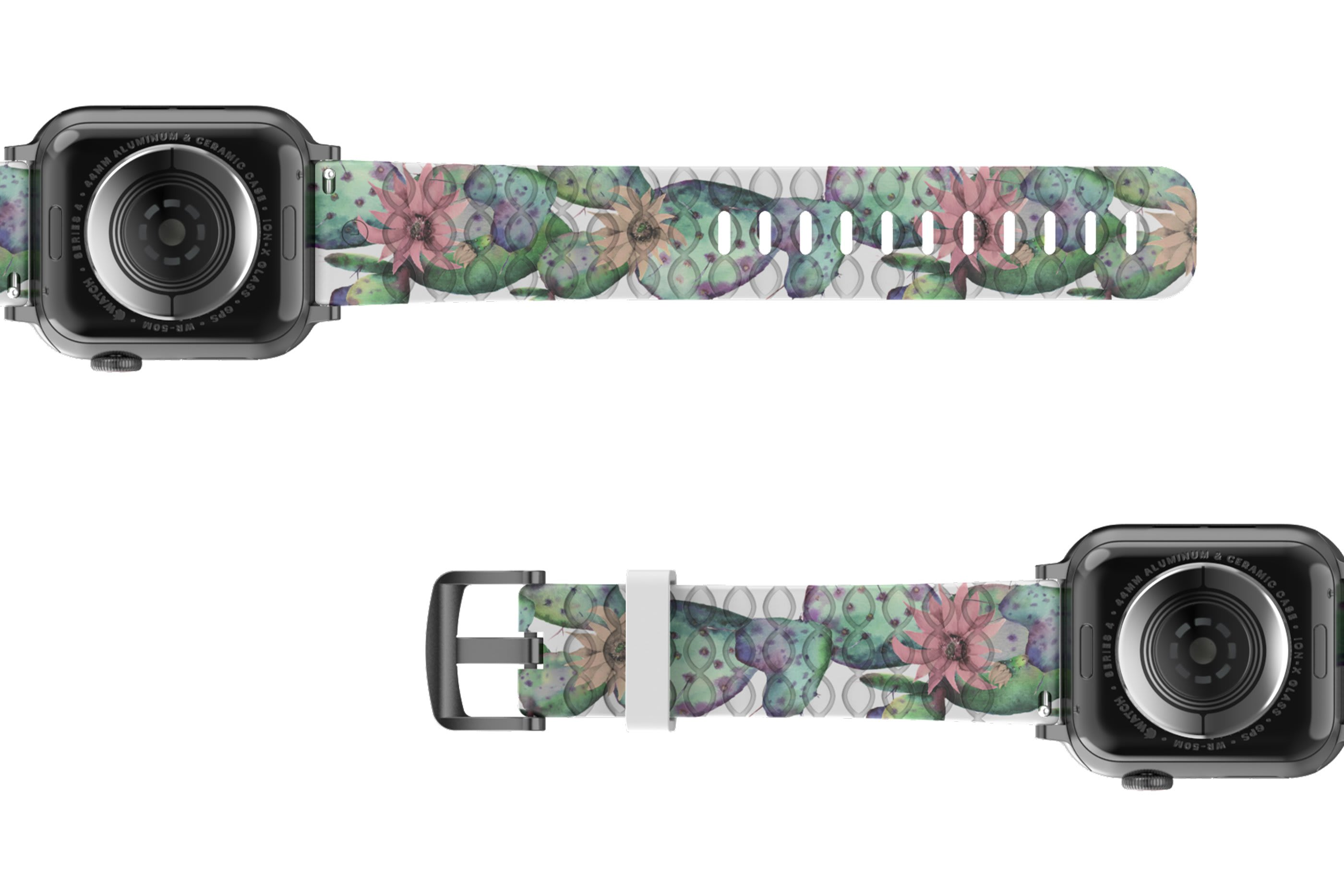 Cactus Bloom Apple Watch Band with silver hardware viewed bottom up
