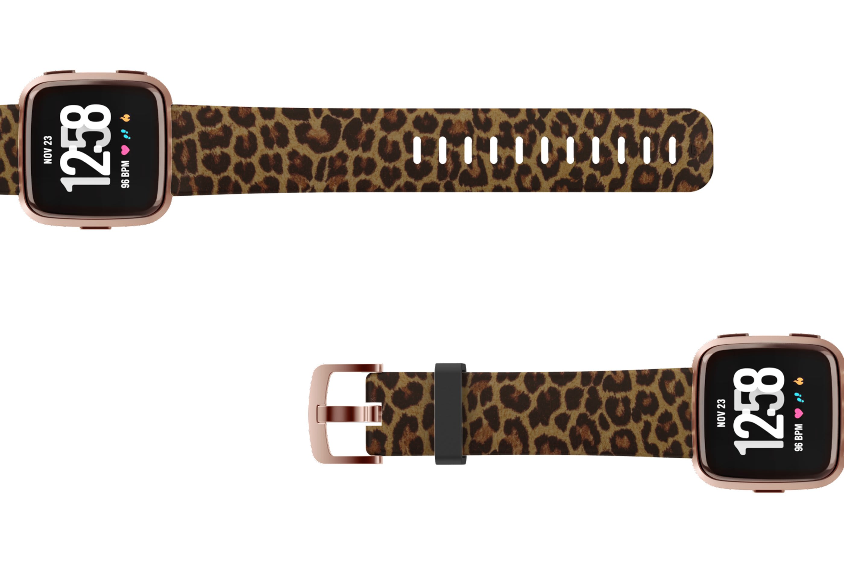 Leopard Fitbit Versa watch band with rose gold hardware viewed top down