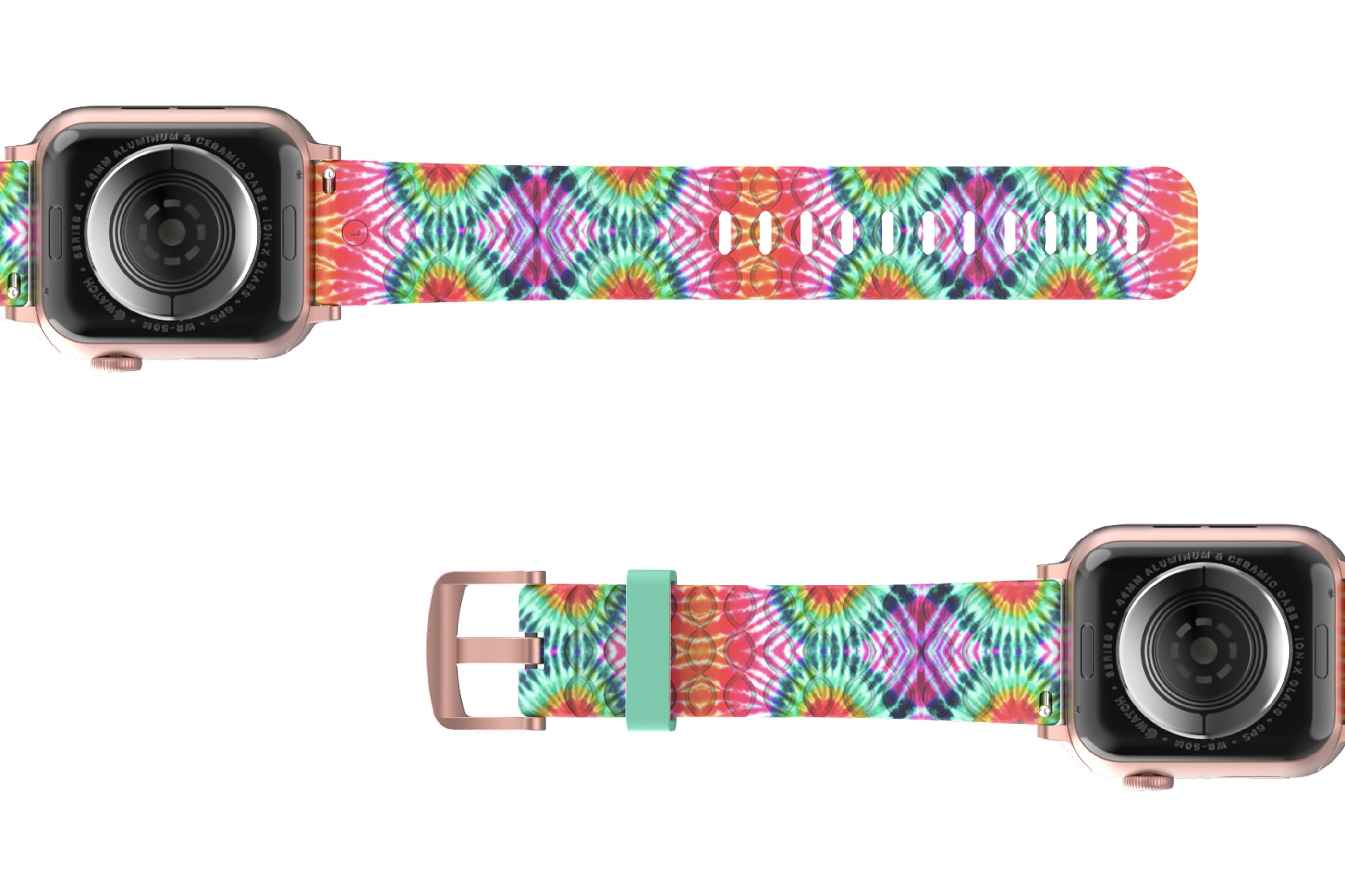Gypsy Eyes Apple   watch band with rose gold hardware viewed bottom up
