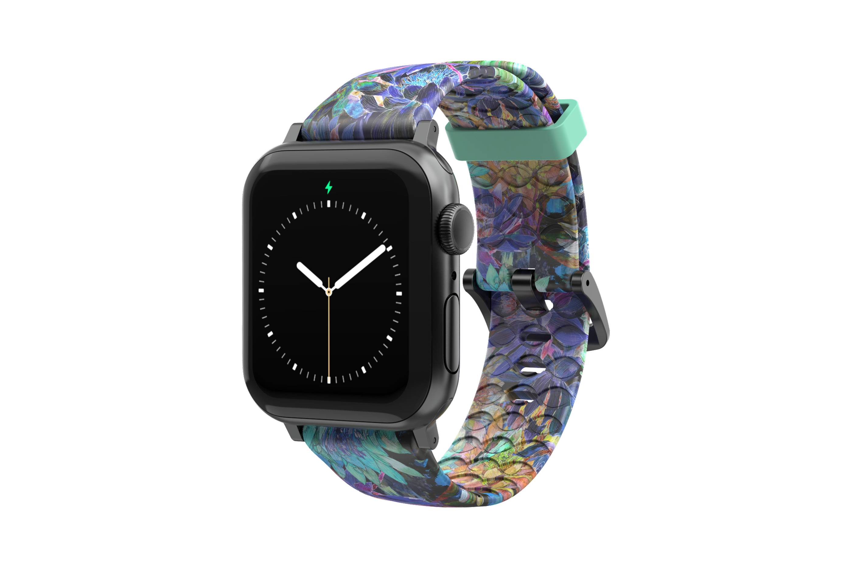 Twilight Blossom - Apple Watch Band with gray hardware viewed front on