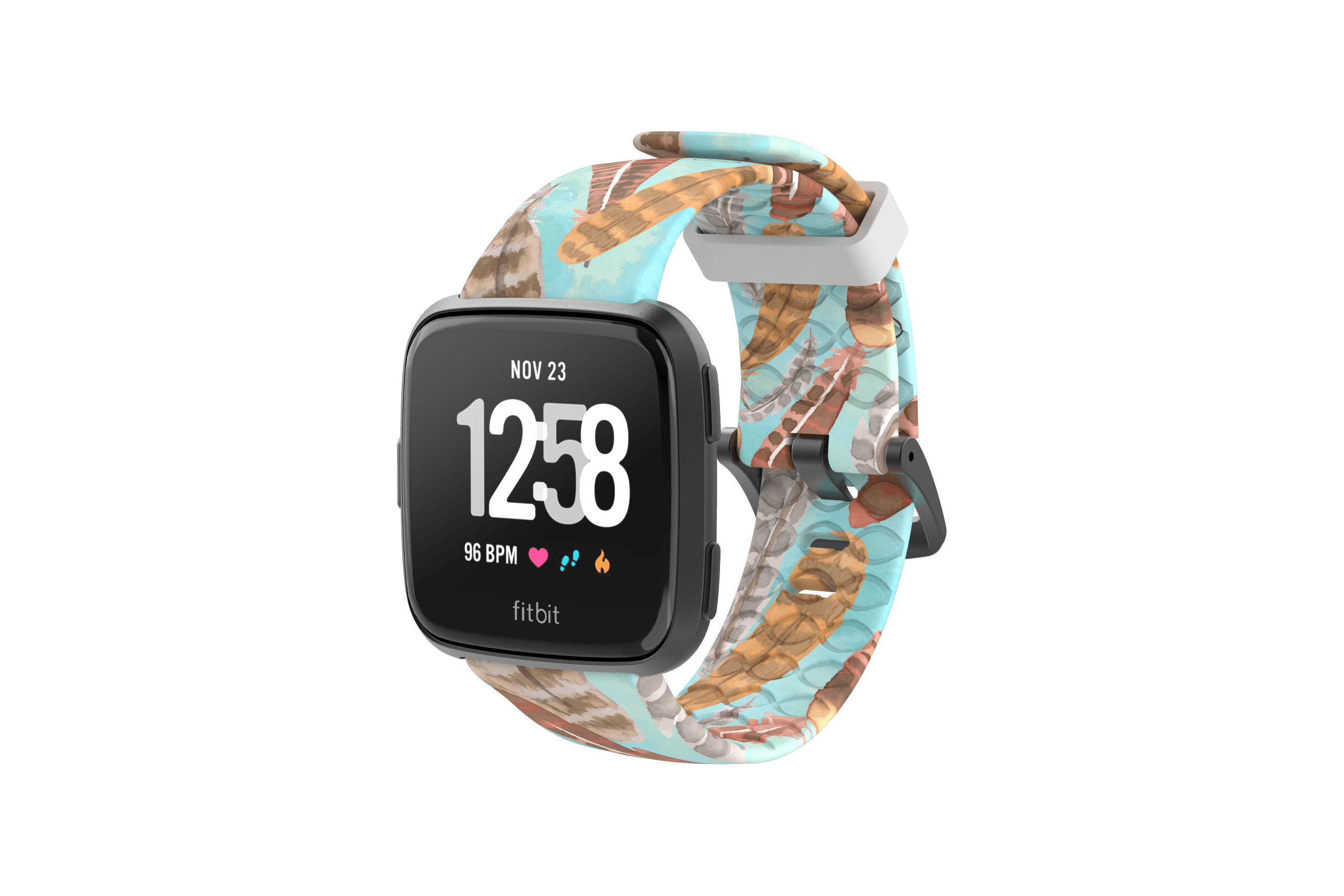Brave - Katie Van Slyke Fitbit Versa Watch Band with gray hardware viewed front on