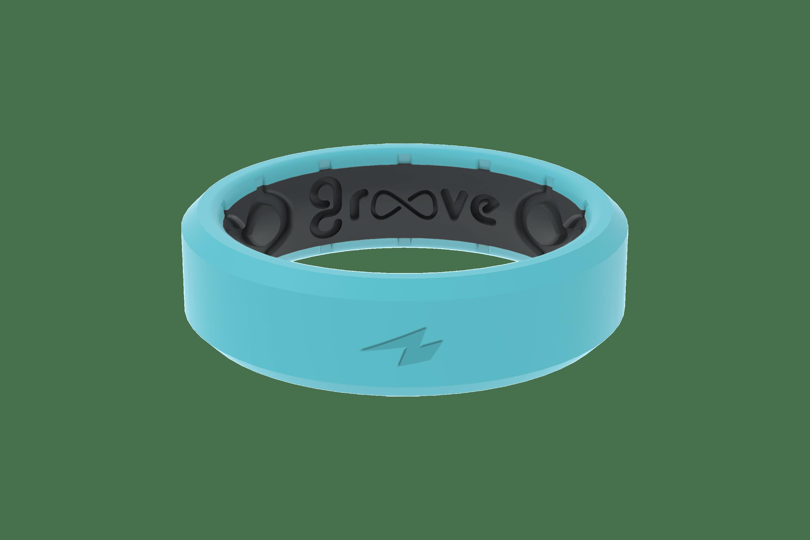 Thin Zeus Aqua/Black - Groove Life Silicone Wedding Rings