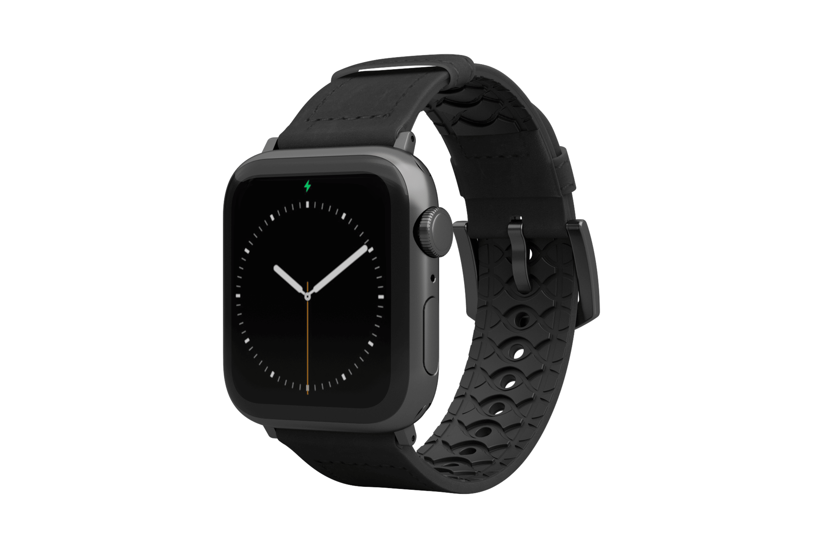 Vulcan Obsidian Black Leather Apple Watch Band with gray hardware viewed front on