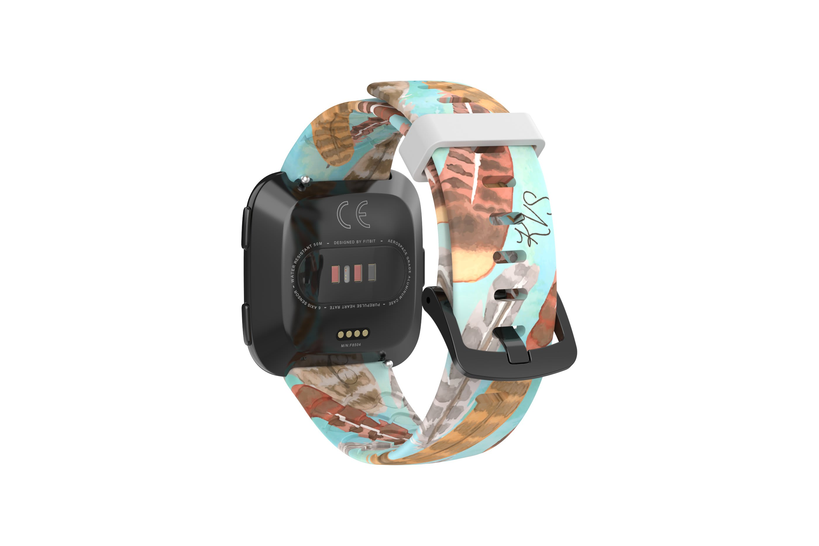 Brave - Katie Van Slyke fitbit versa watch band with gray hardware viewed from rear