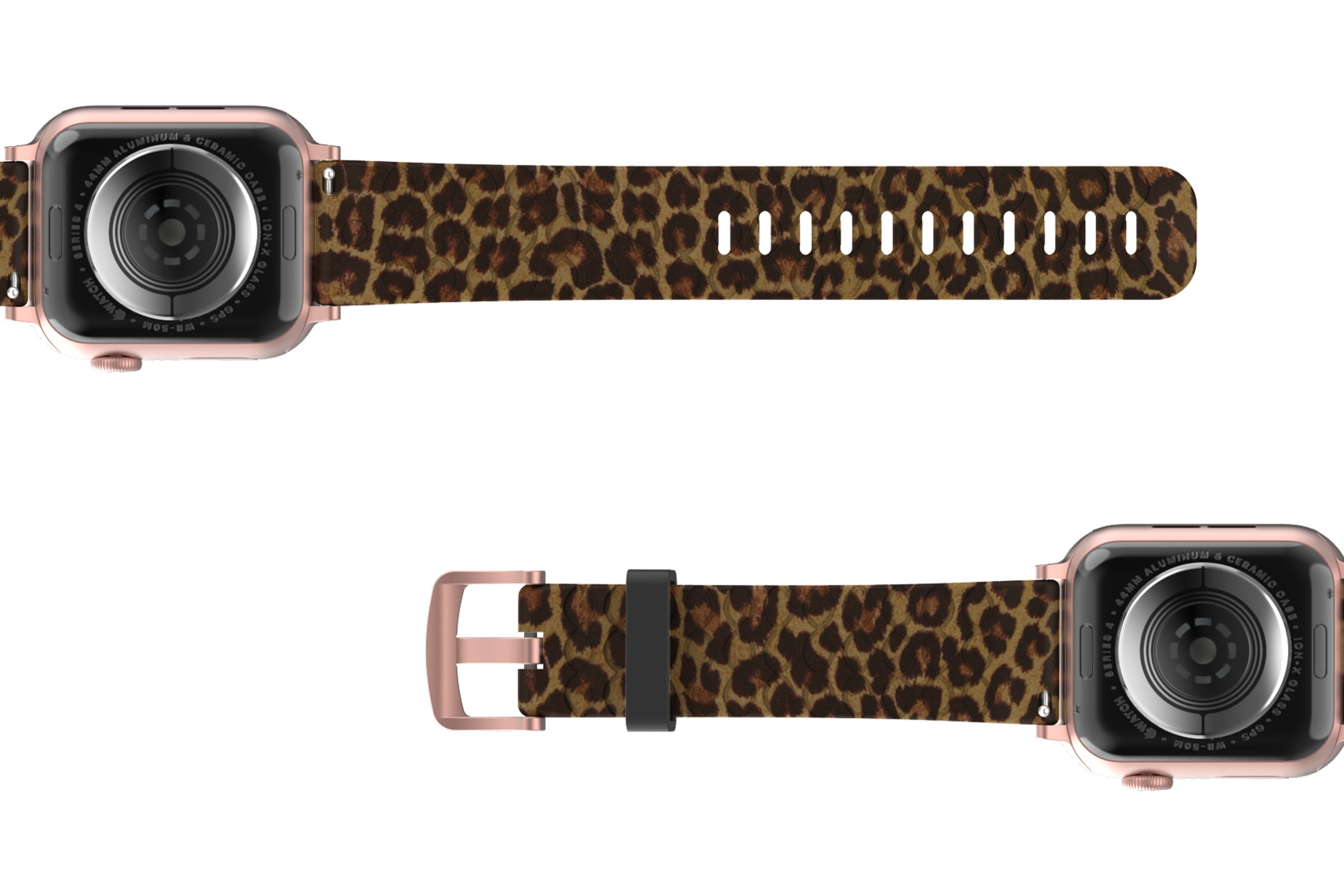 Leopard Apple Watch Band with rose gold hardware viewed bottom up