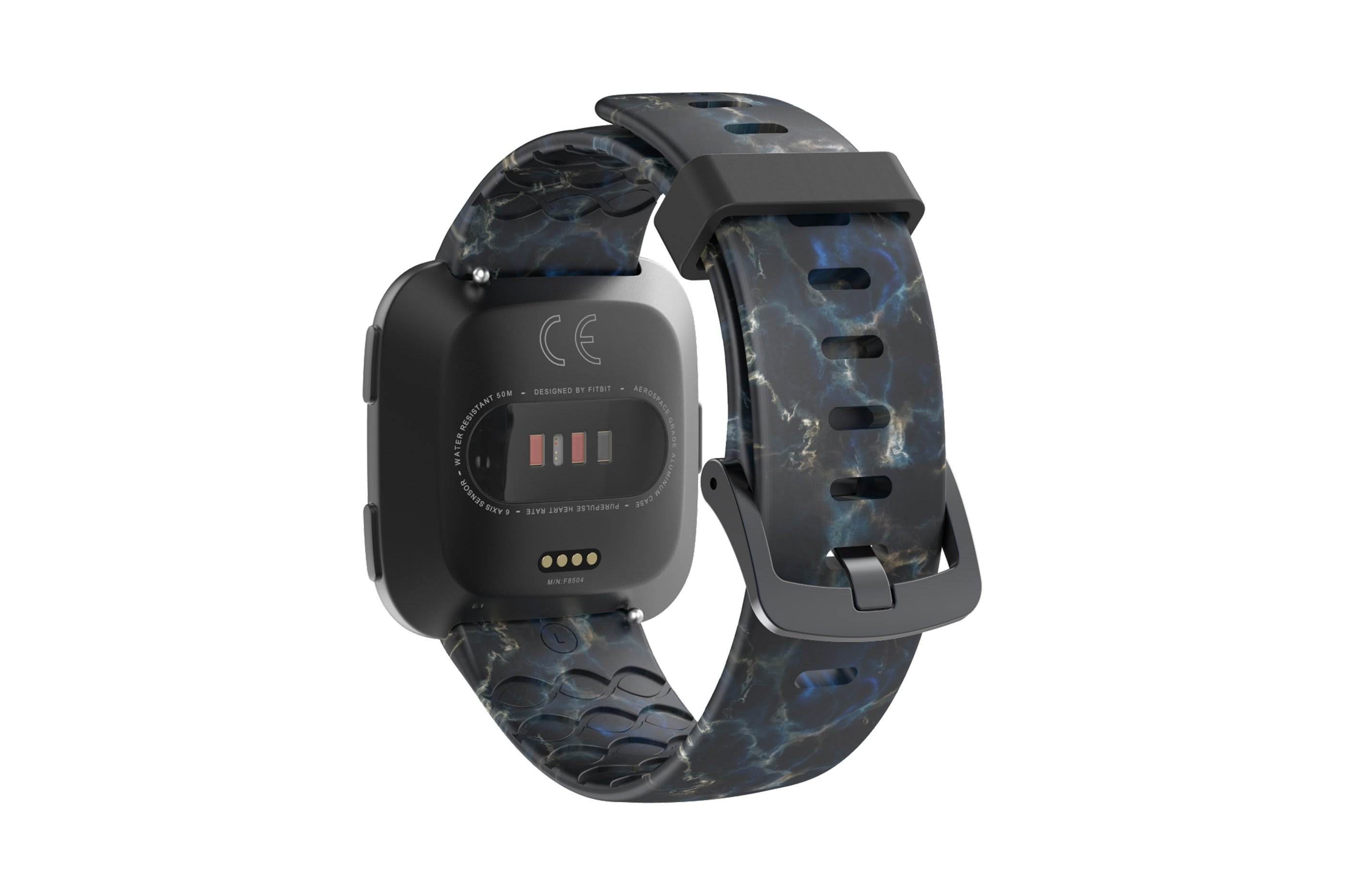 Nomad Rapids fitbit versa watch band with gray hardware viewed from top down