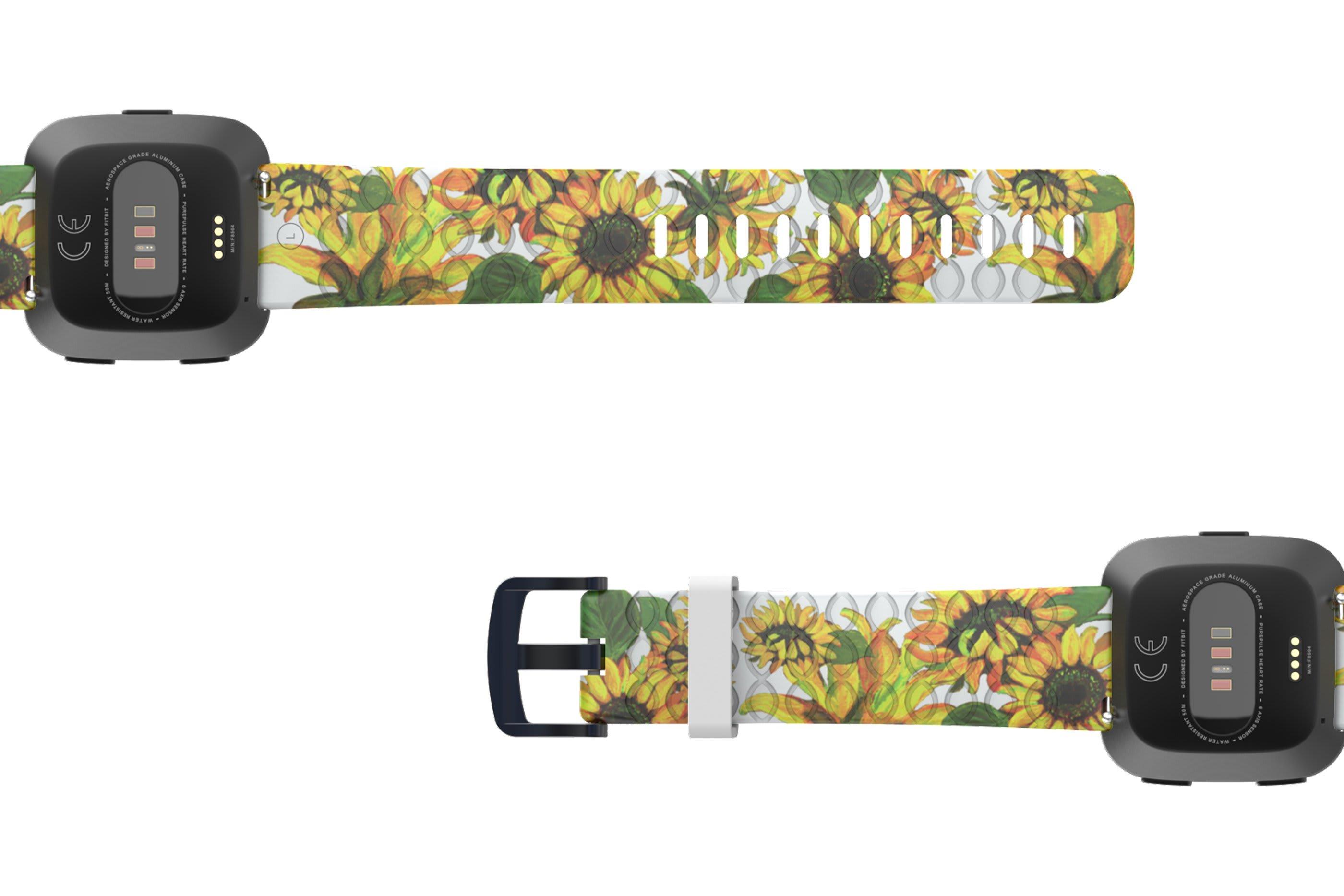 Sunflower Fitbit Versa   watch band  with gray hardware viewed bottom up