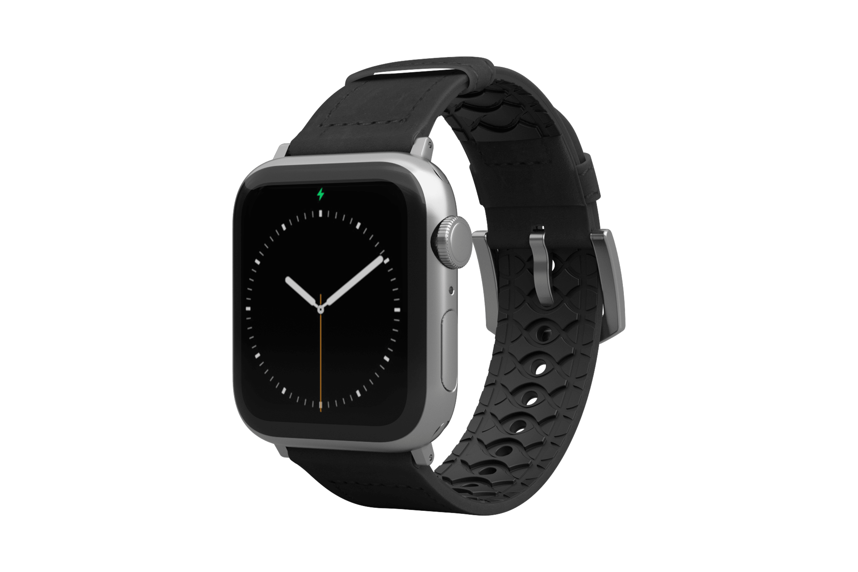 Vulcan Obsidian Black Leather Apple Watch Band with silver hardware viewed front on