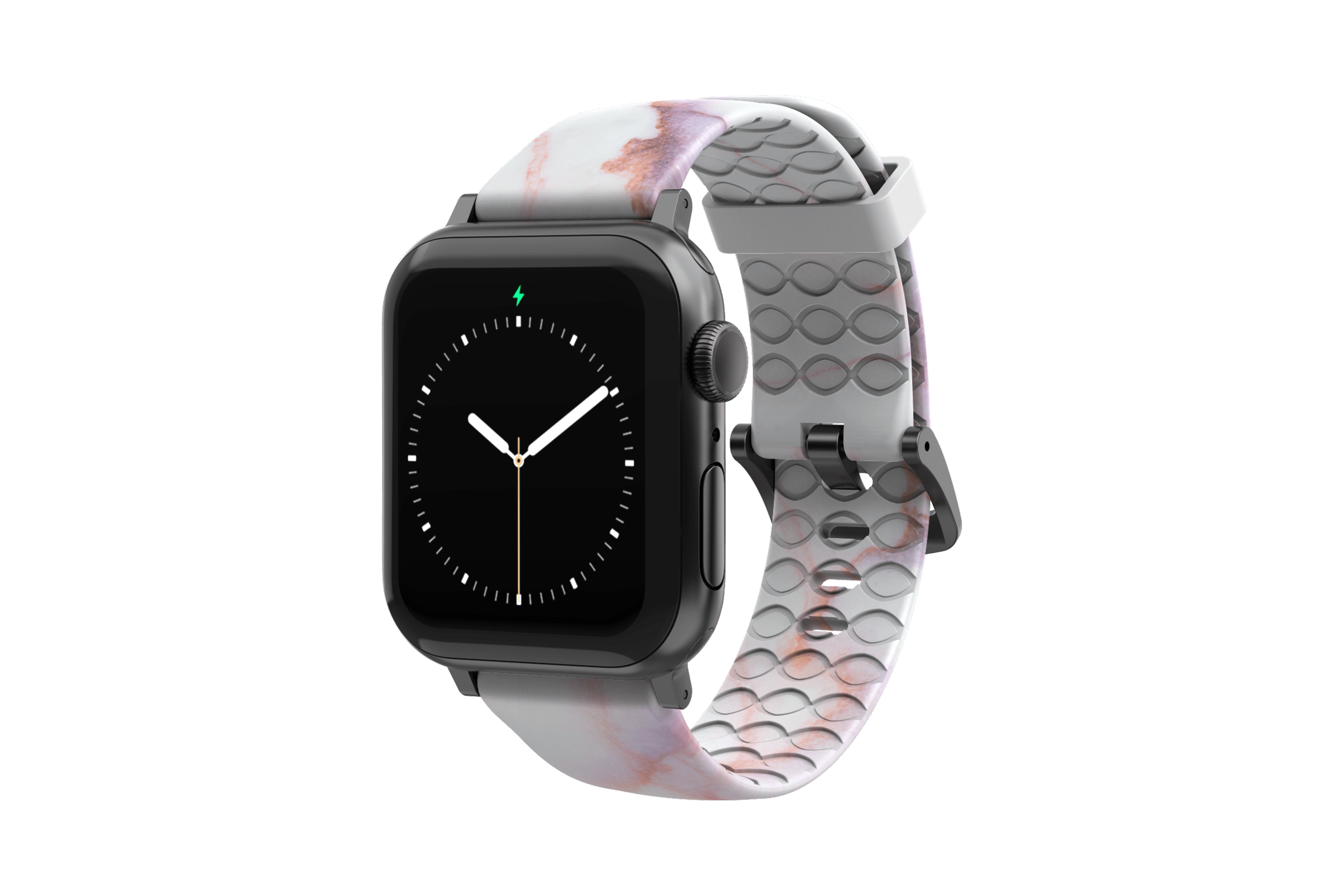 Carrera Marble - Apple Watch Band with gray hardware viewed front on