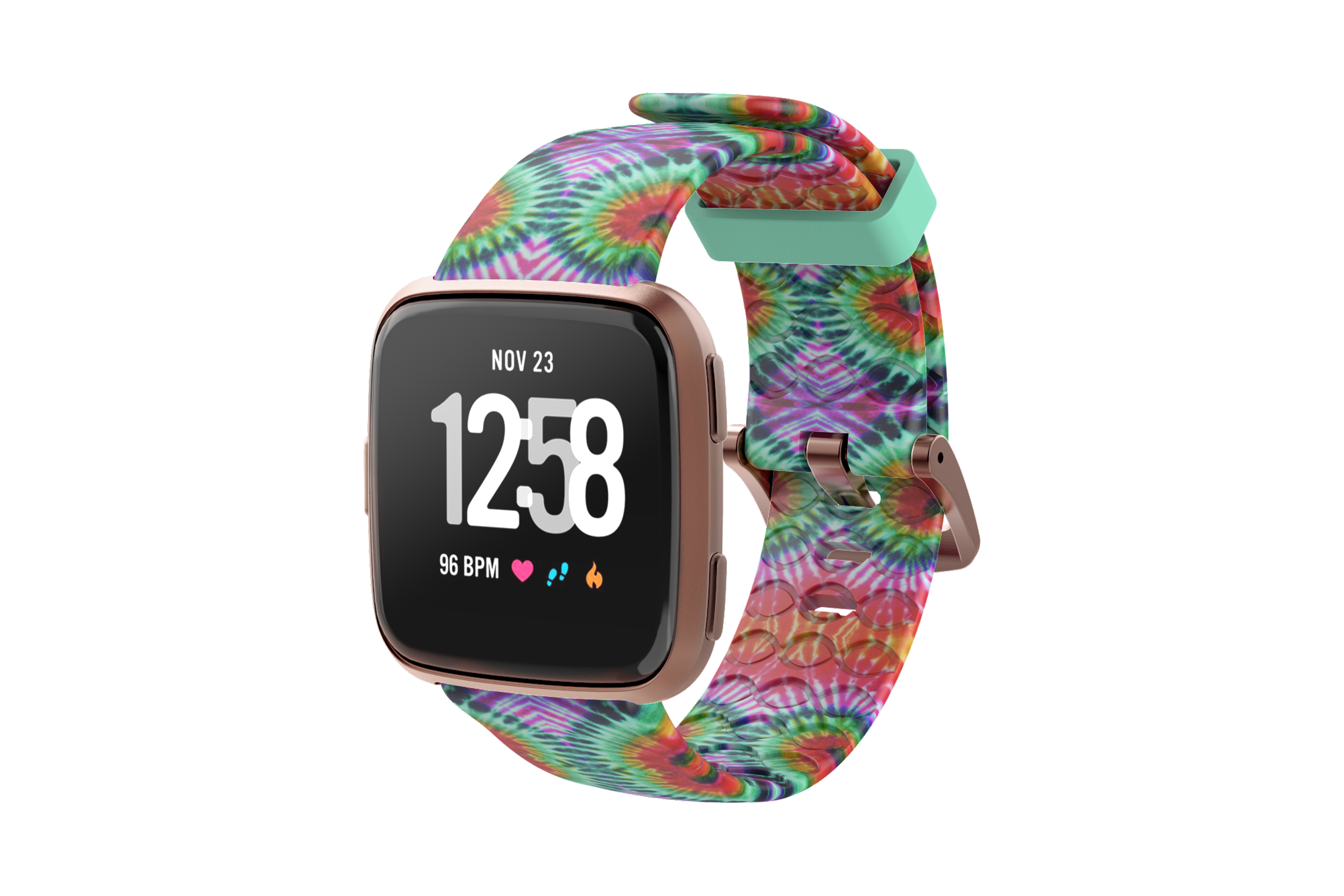 Gypsy Eyes Fitbit Versa Watch Band with rose gold hardware viewed front on