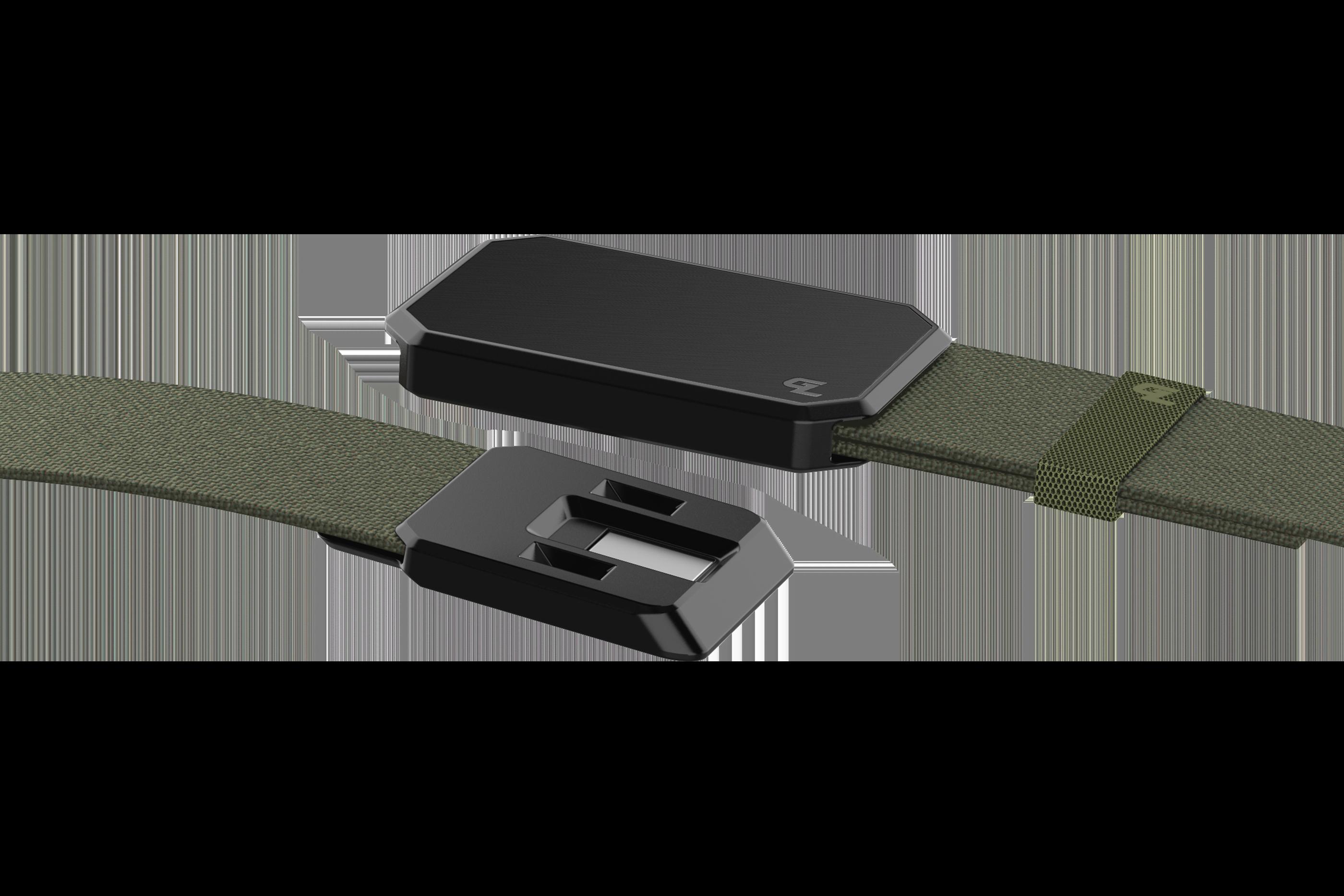 Groove Belt Black/Olive close up on buckle