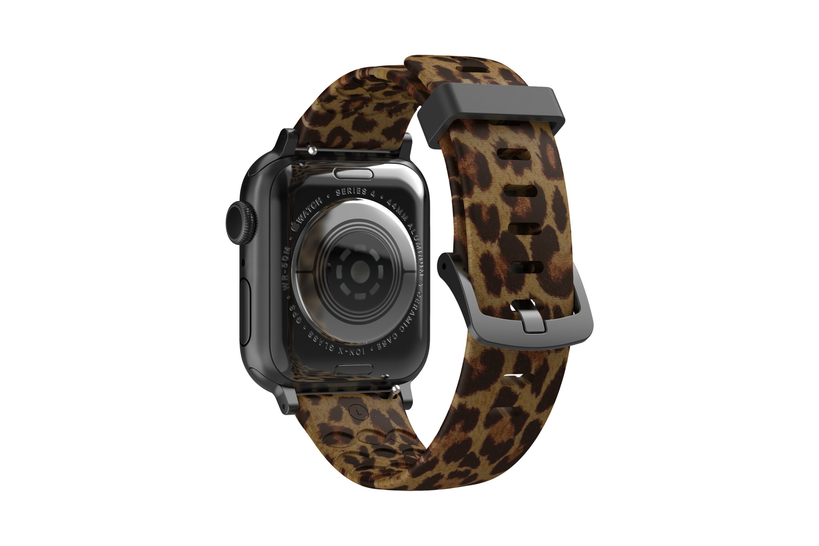 Leopard Apple Watch Band with gray hardware viewed from rear
