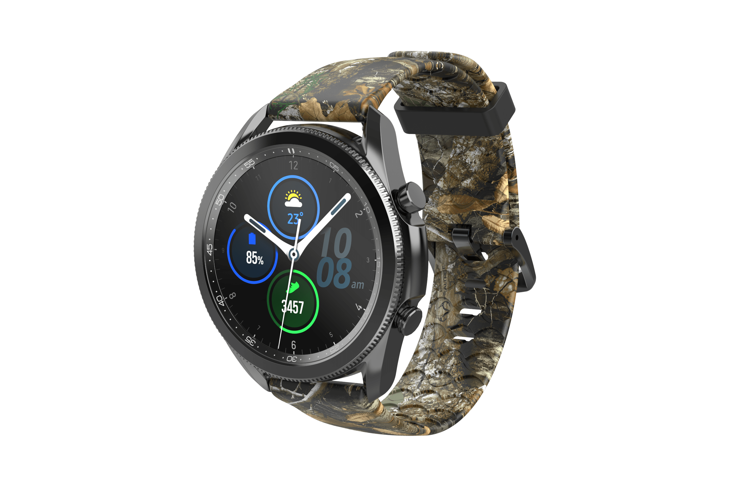 Realtree Edge Samsung 22mm Watch Band with gray hardware viewed front on