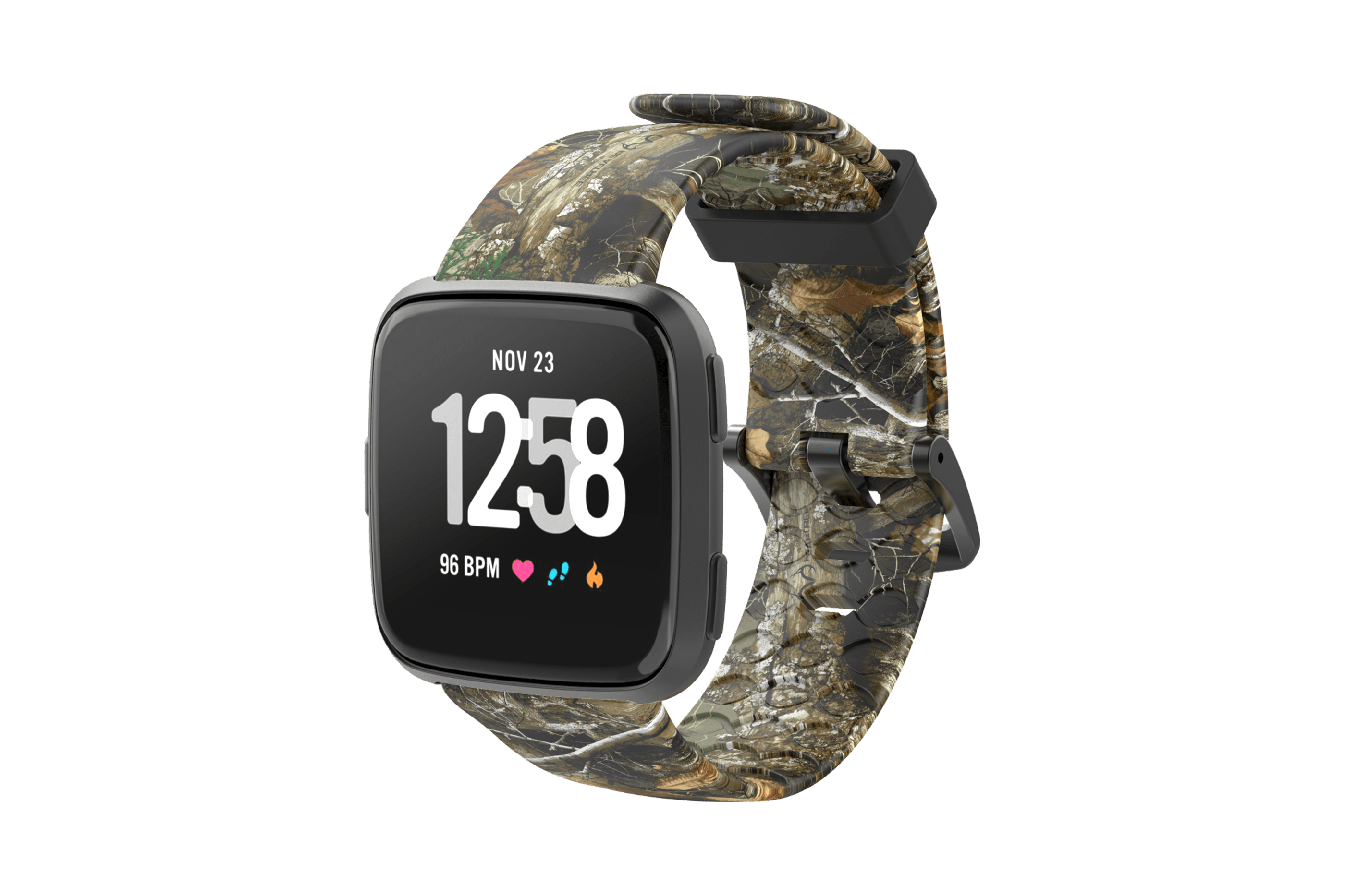 Realtree Edge Fitbit Versa Watch Band with gray hardware viewed front on