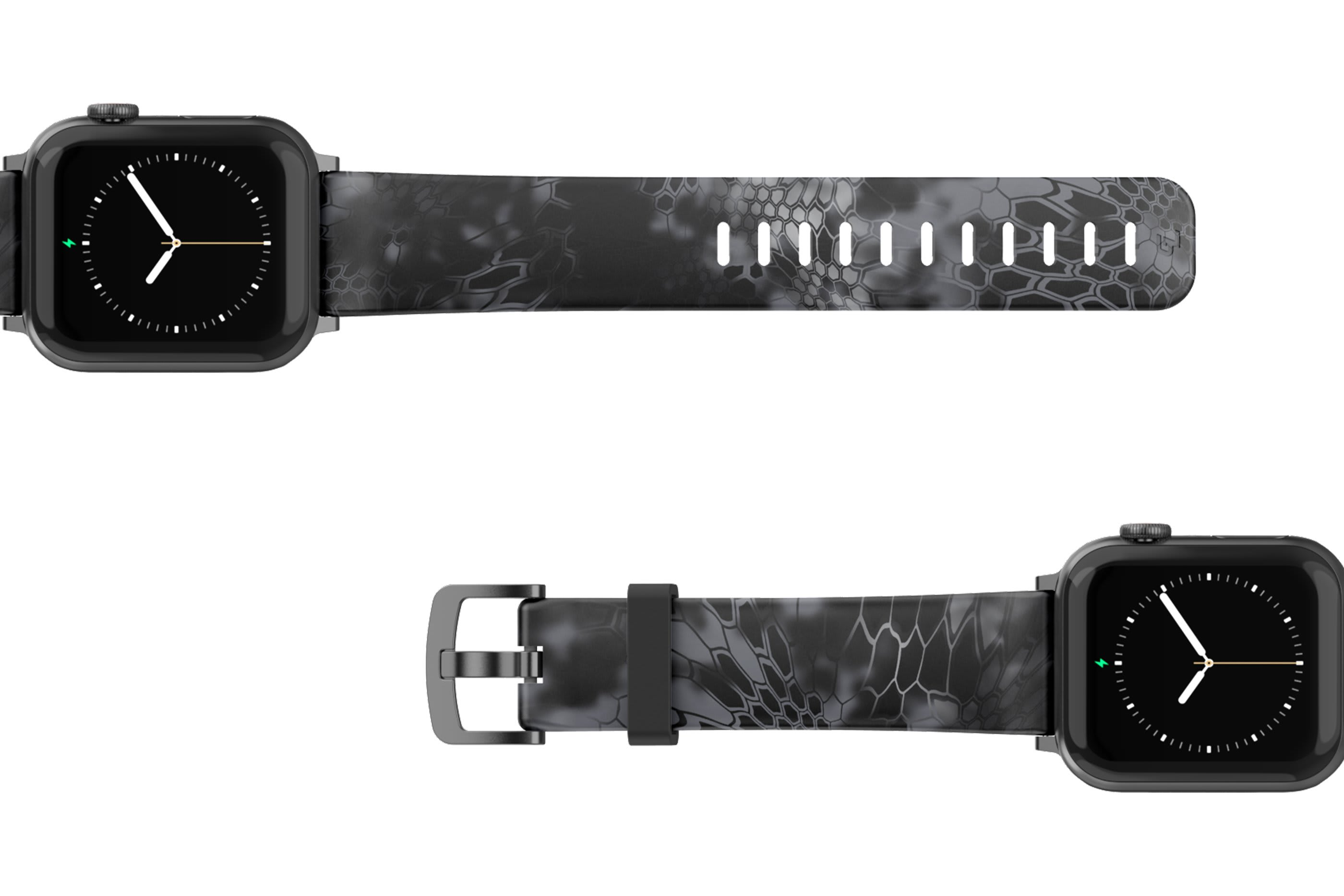 Kryptek Typhon Apple Watch Band with silver hardware viewed top down