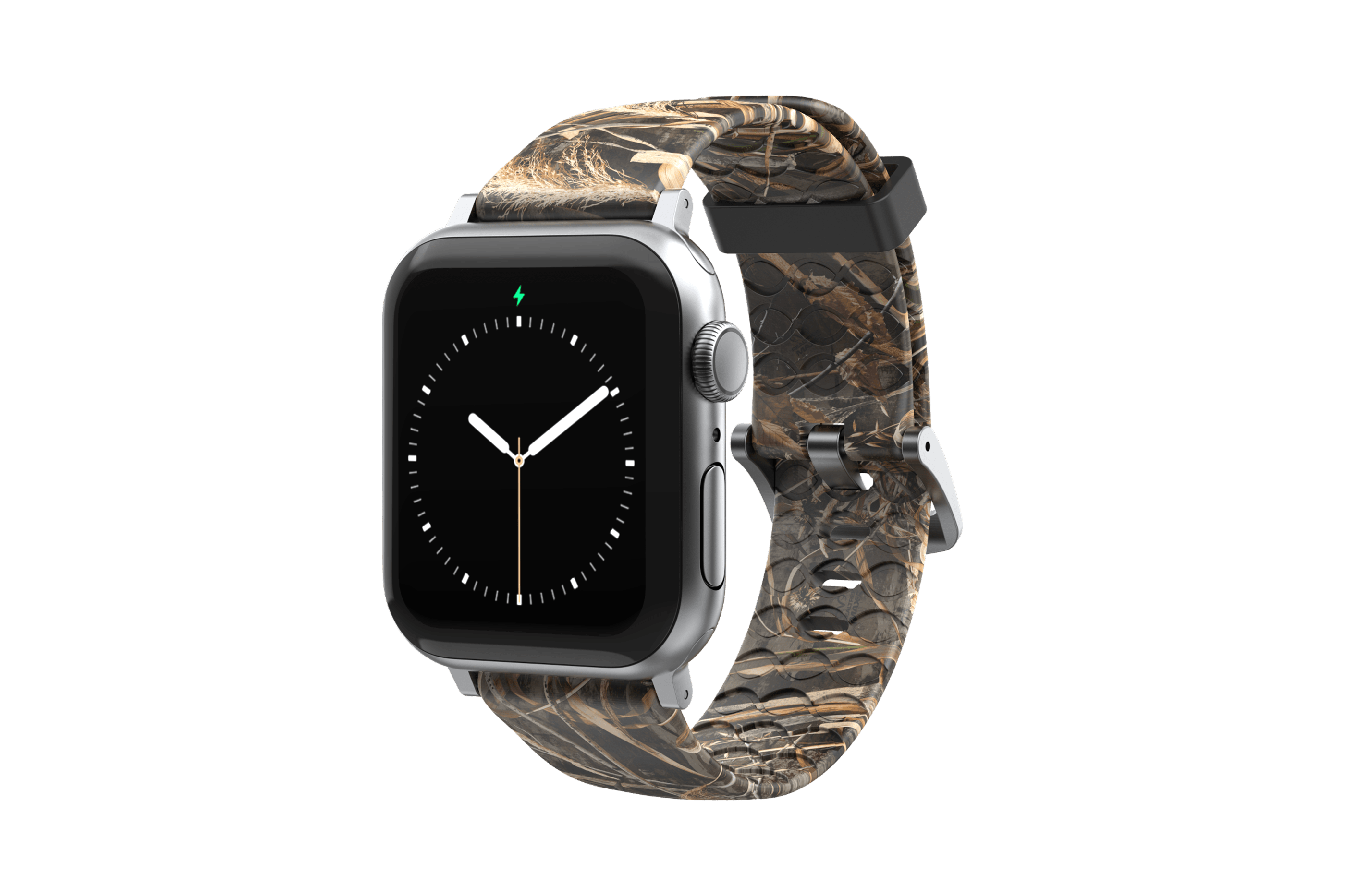 Realtree Max 5 Apple Watch Band with gray hardware viewed front on