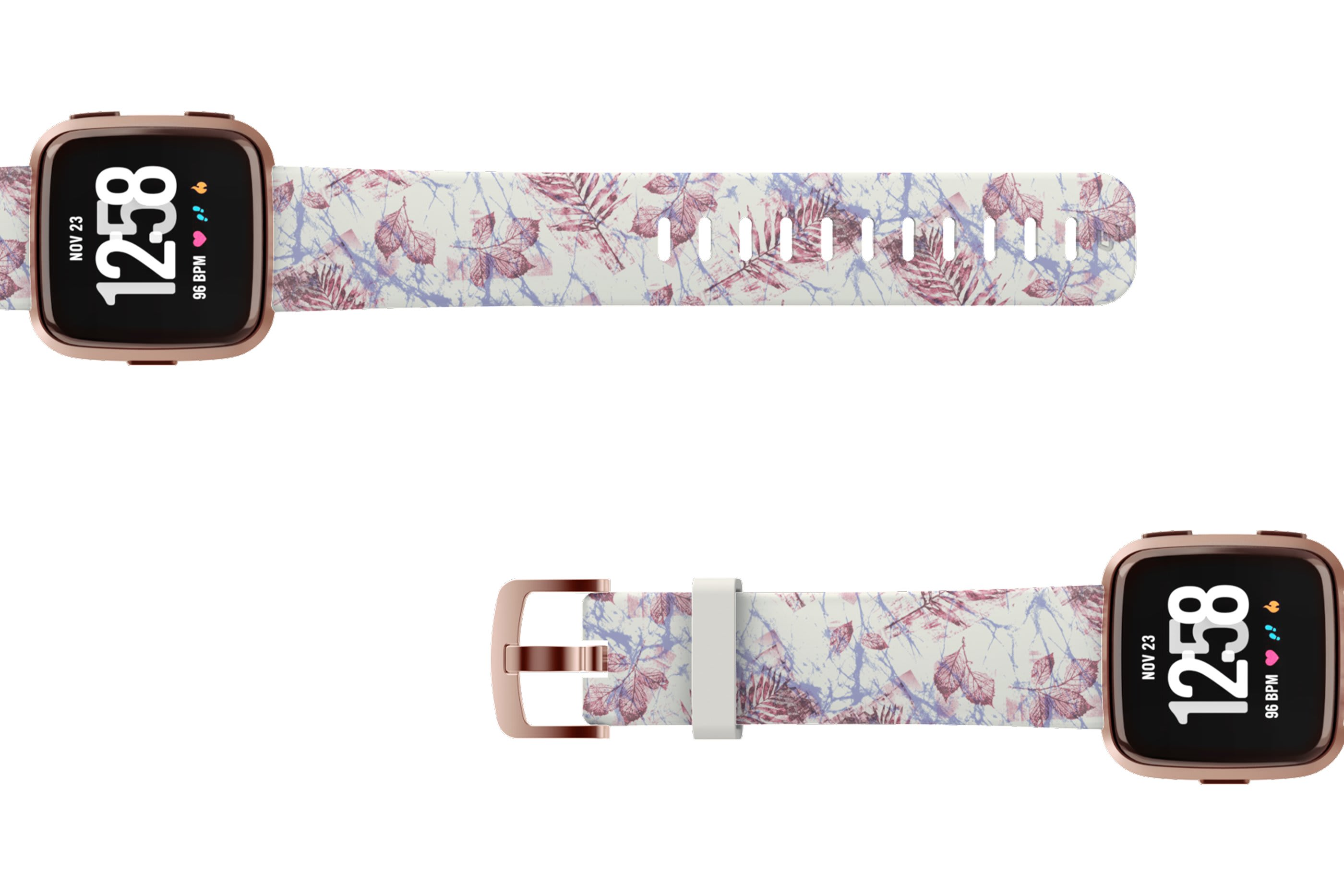 Breeze Fitbit Versa watch bandwith rose gold hardware viewed top down