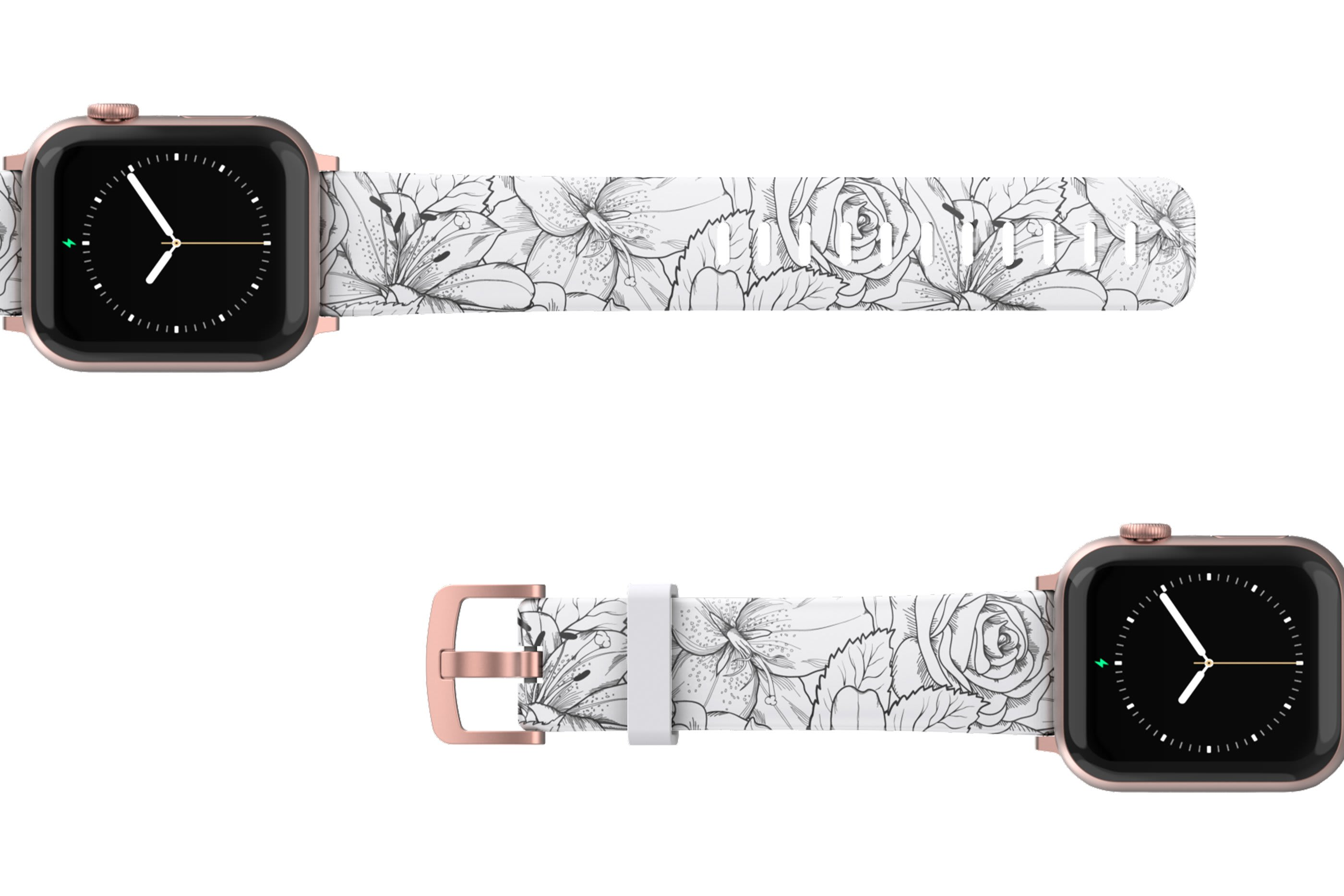 Winter Rose Apple Watch Band with rose gold hardware viewed top down