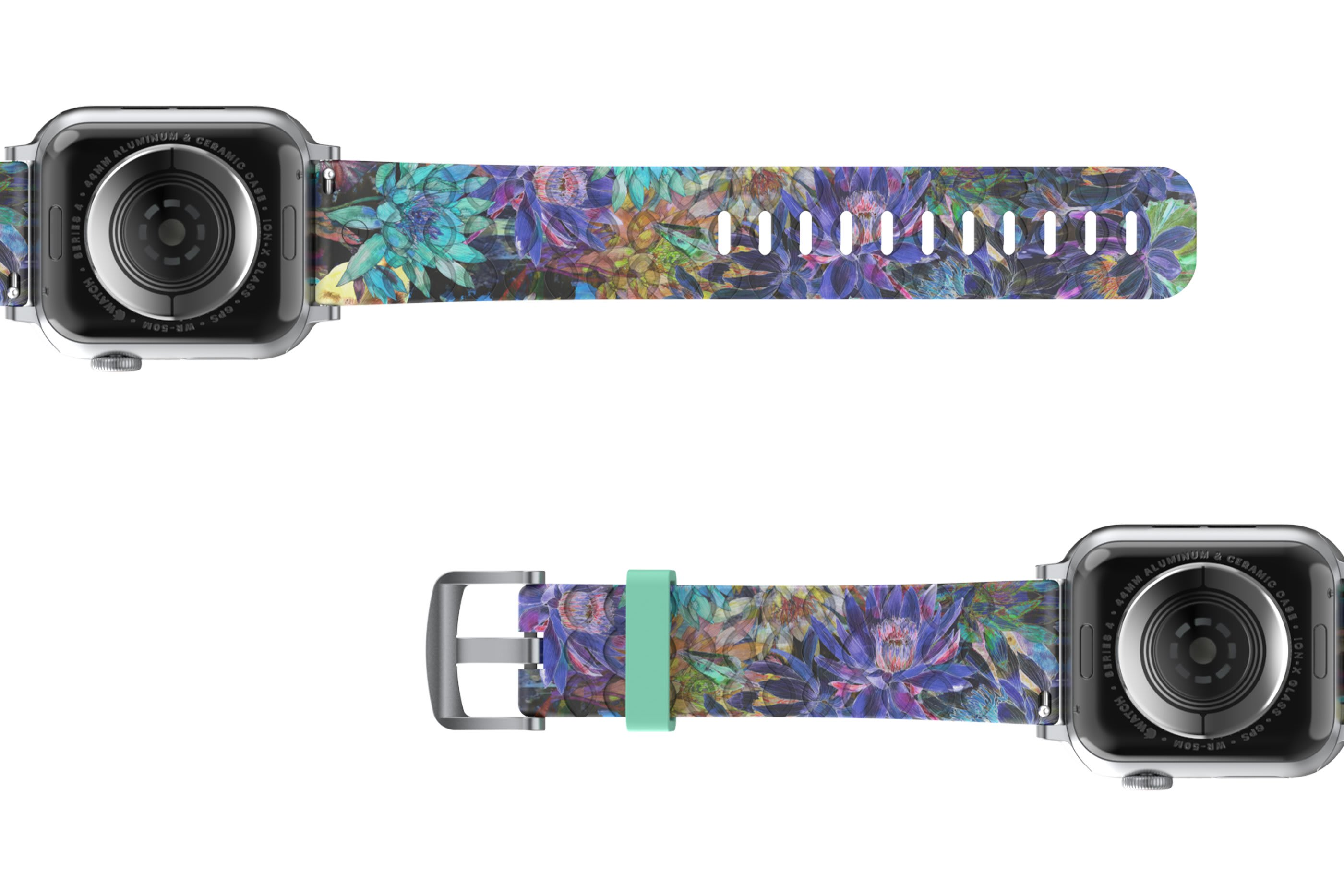 Twilight Blossom Apple Watch Band with silver hardware viewed bottom up