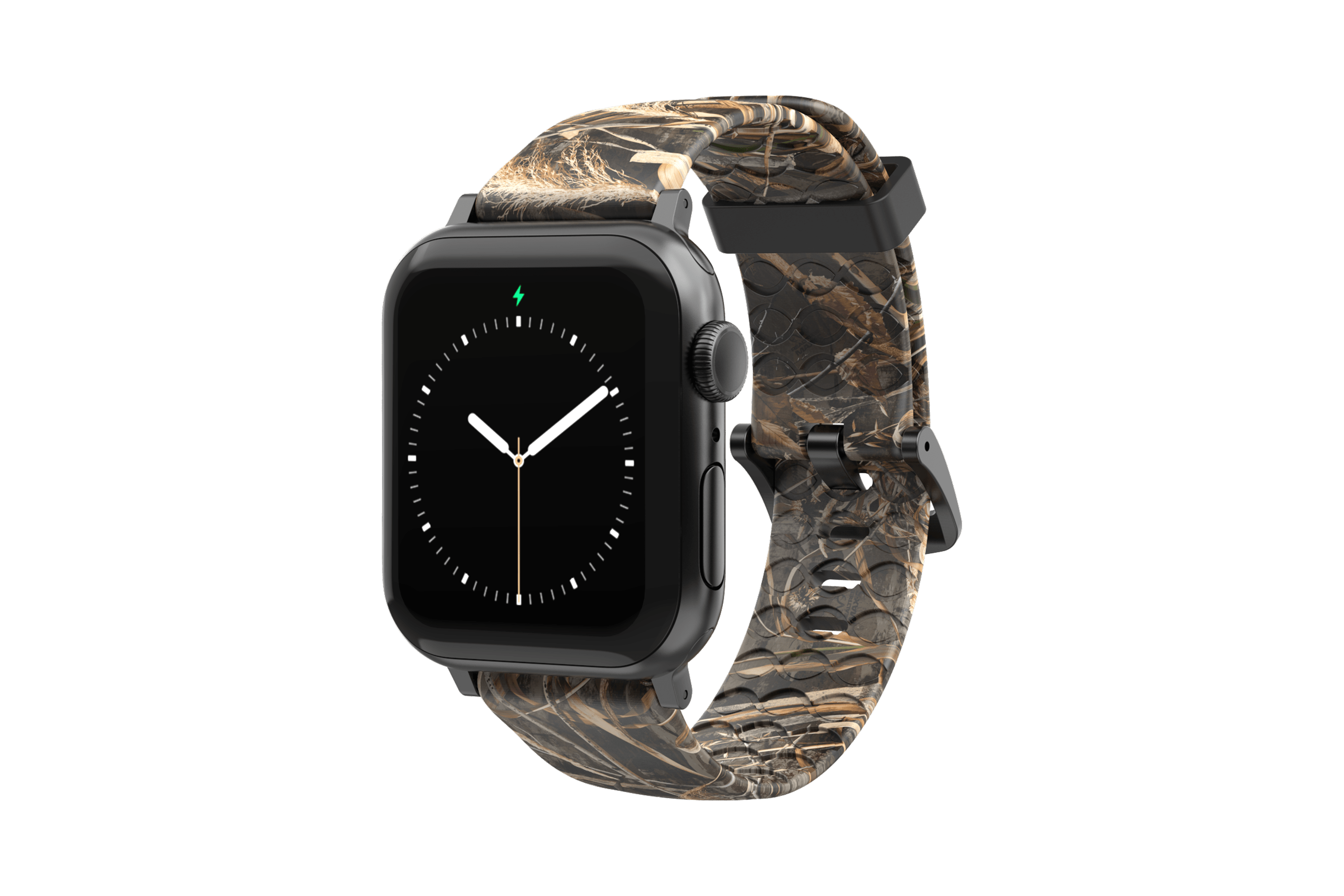 Realtree Max 5 Apple Watch Band with silver hardware viewed front on