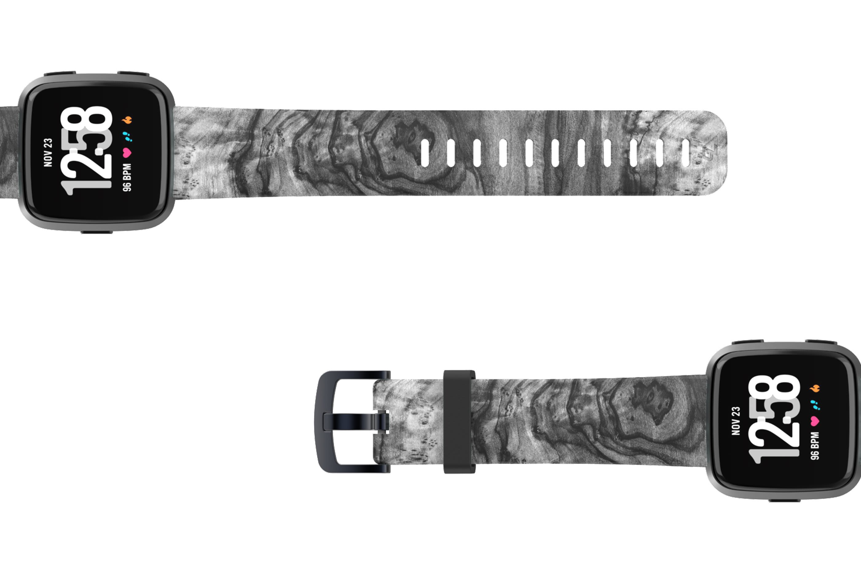 Nomad Relic Fitbit Versa watch band with gray hardware viewed top down