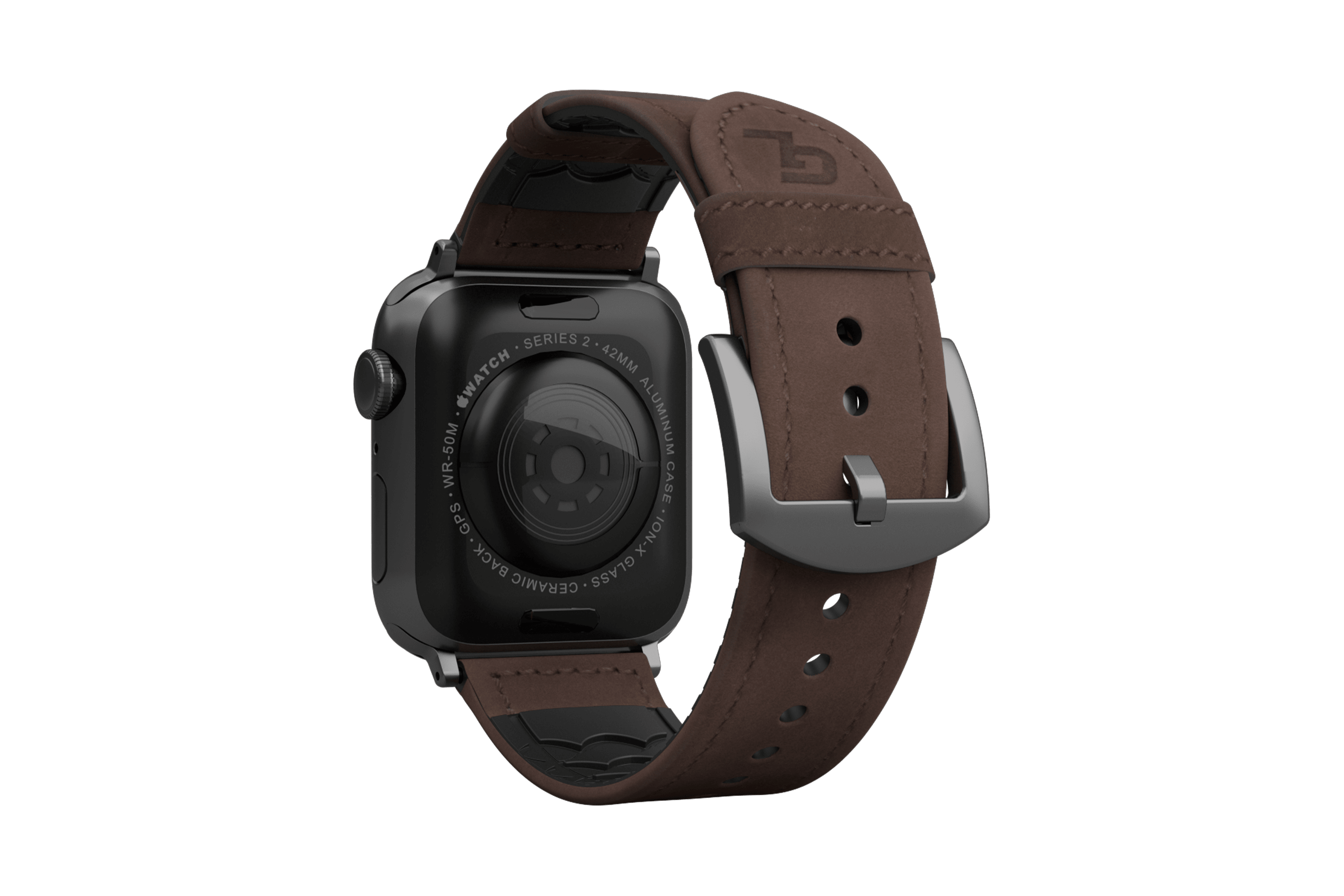 Vulcan Ascent Leather apple watch band with gray hardware viewed from top down