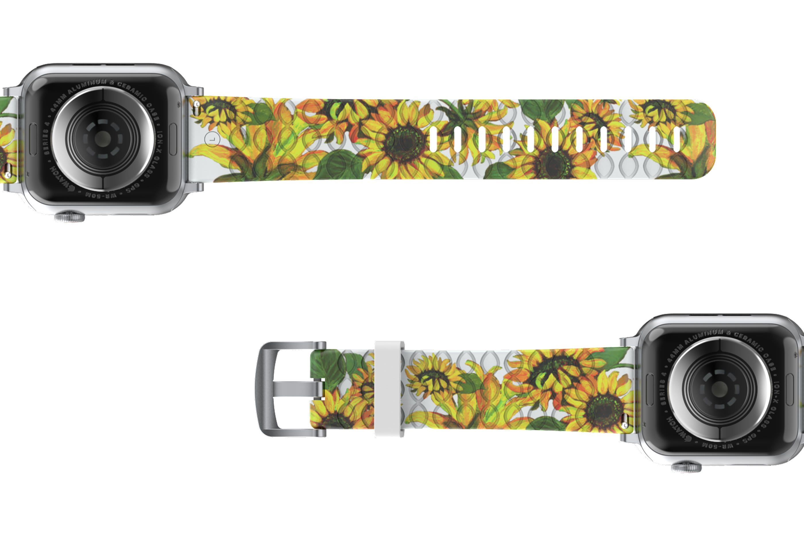Sunflower Apple Watch Band with gray hardware viewed bottom up