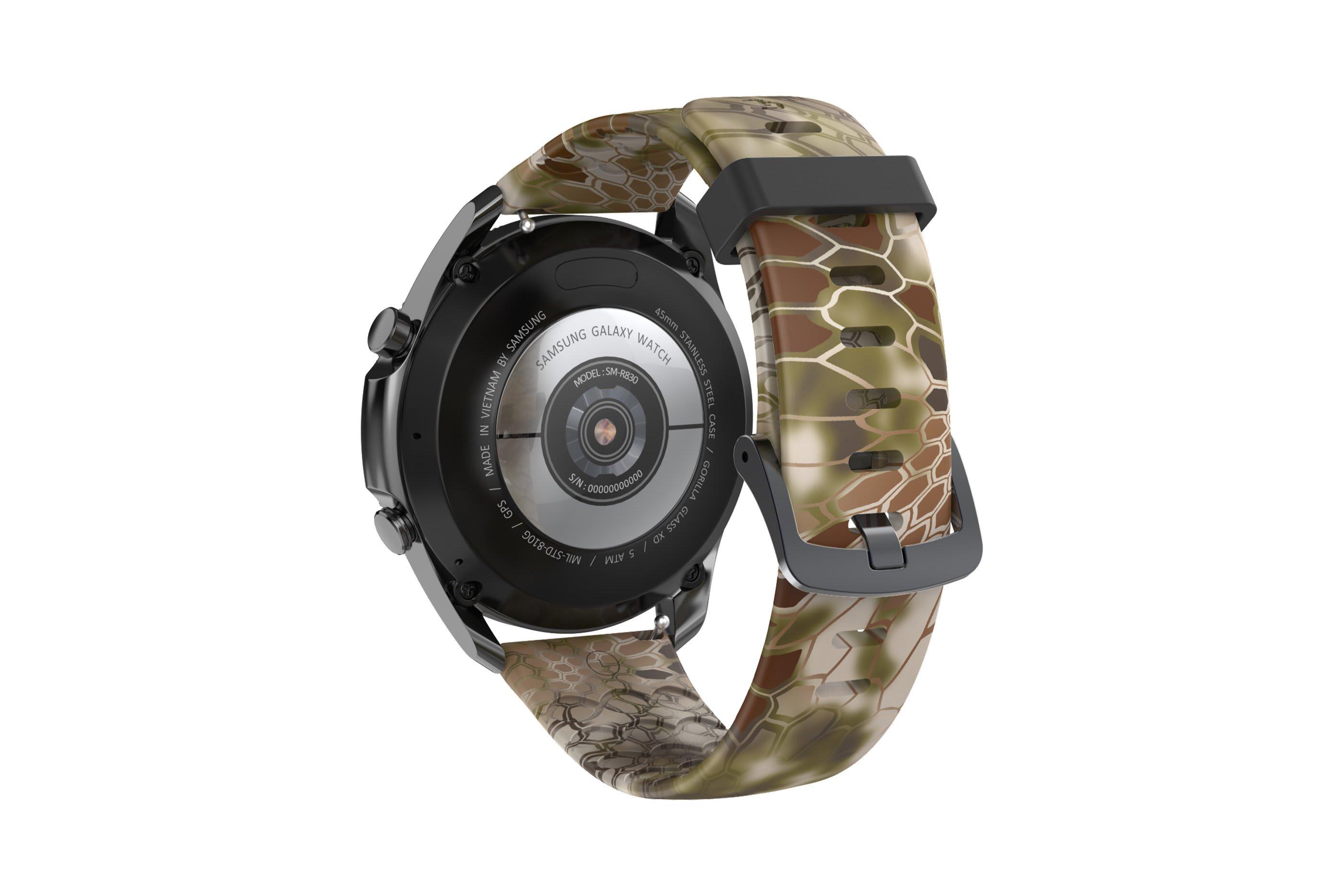 Kryptek Highlander  Samsung 22mm watch band viewed from rear