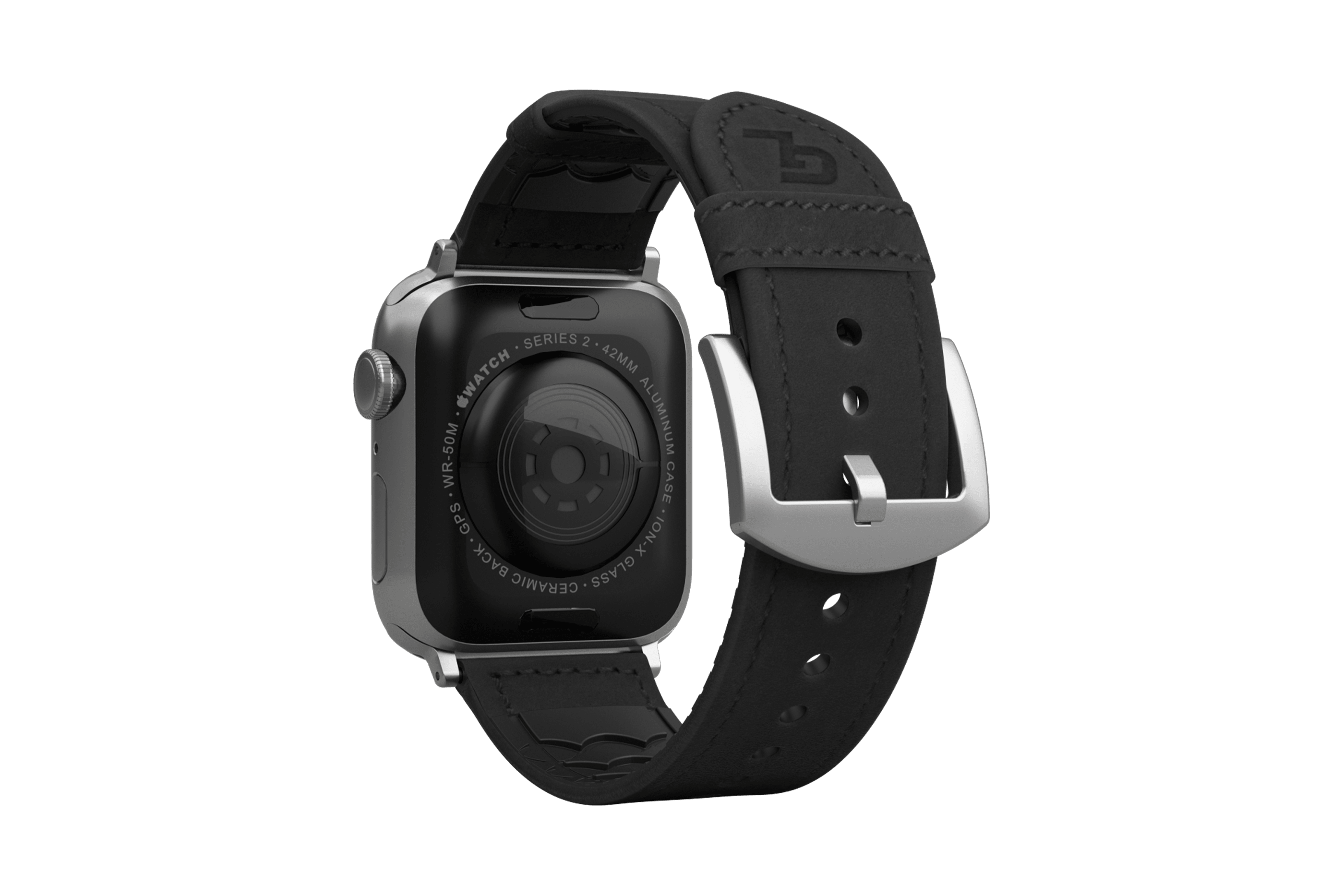 Vulcan Obsidian Black Leather apple watch band with silver hardware viewed from top down